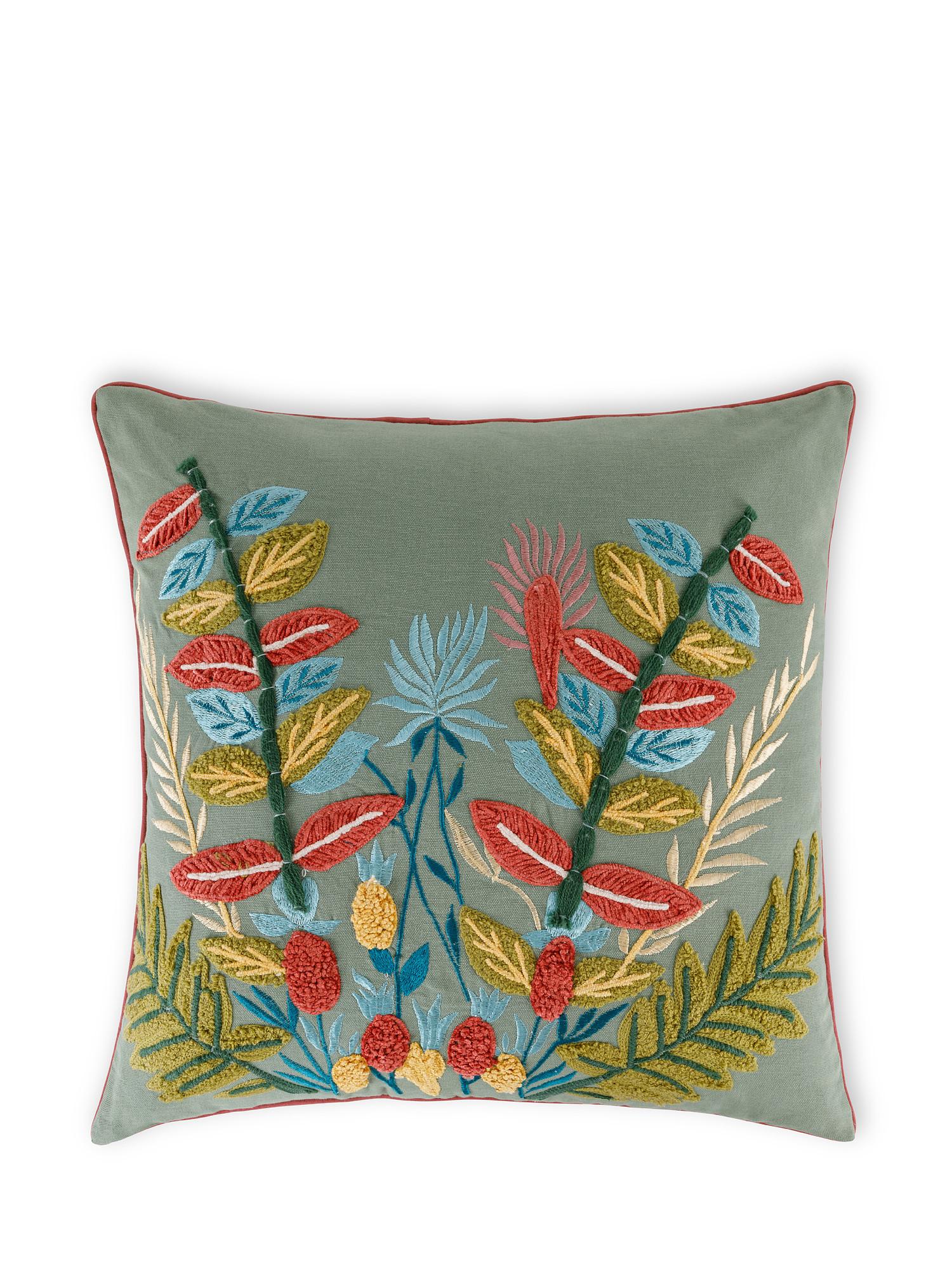 Cuscino cotone ricamo floreale 45x45cm, Multicolor, large image number 0