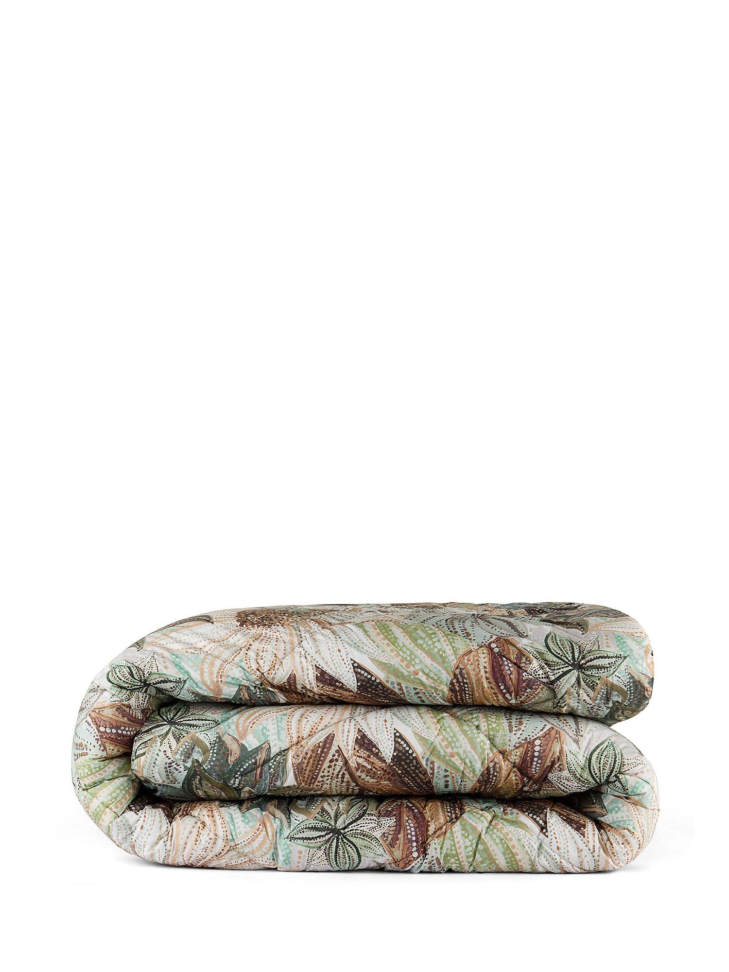 Trapunta percalle di cotone fantasia ninfea, Verde, large image number 0