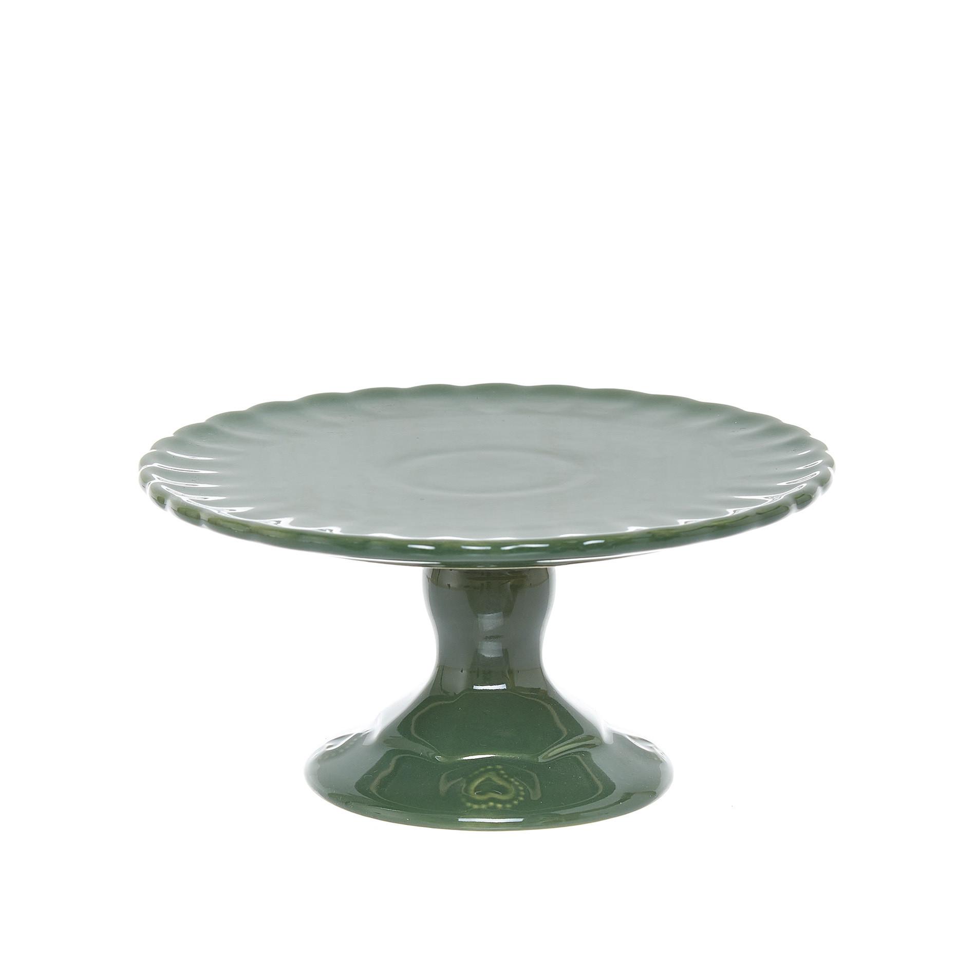 Alzatina per dolci stoneware, Verde, large image number 0