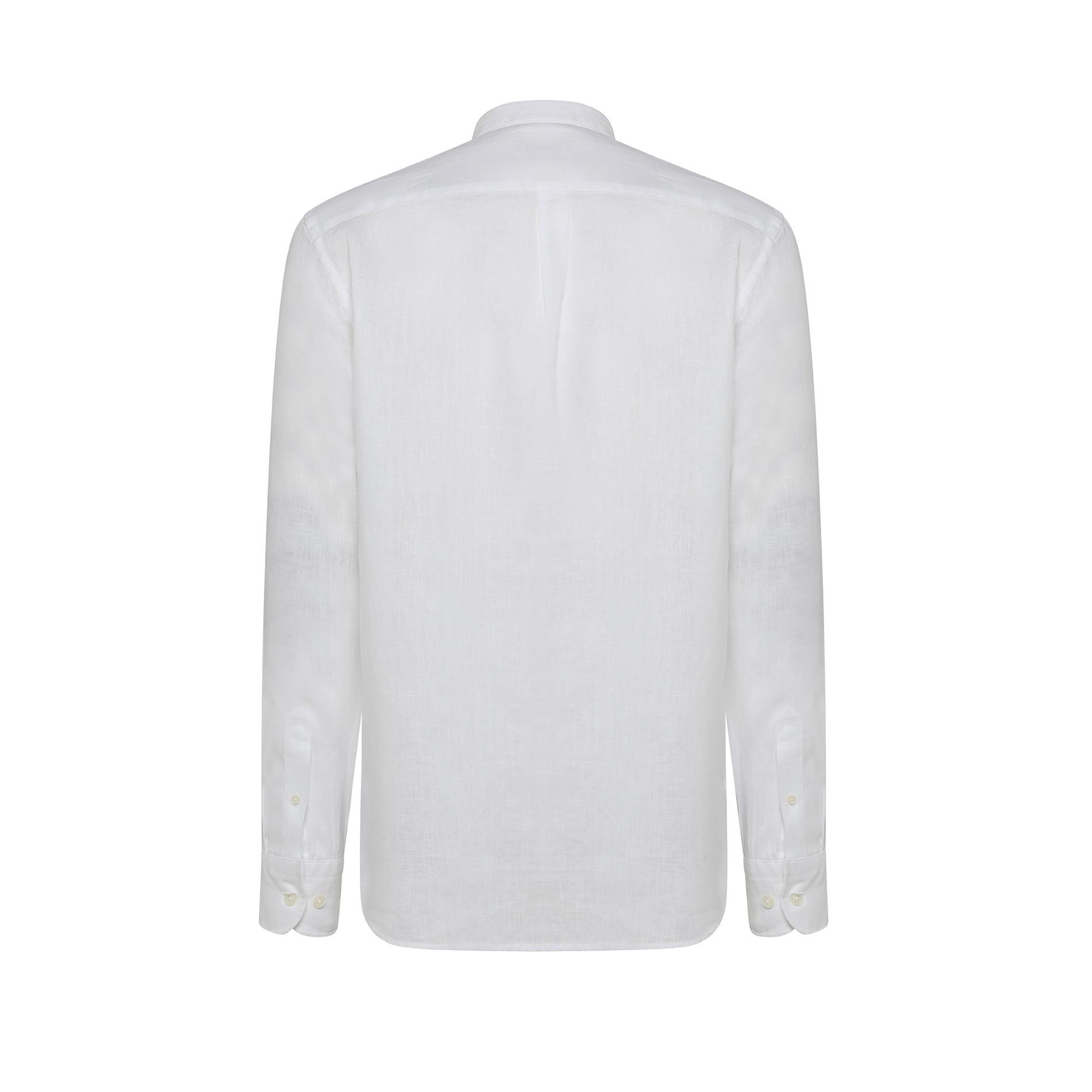 Camicia puro lino tailor fit Luca D'Altieri, Bianco, large image number 1