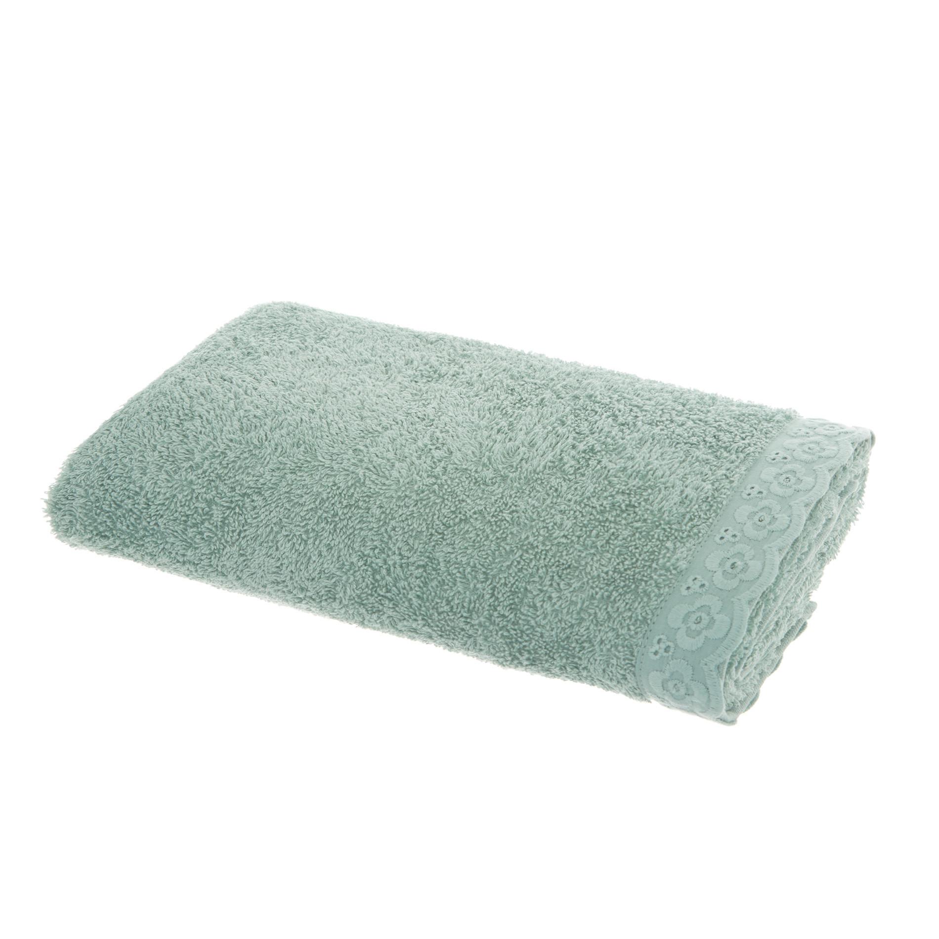 Asciugamano spugna di cotone bordo sangallo, Verde opale, large image number 2