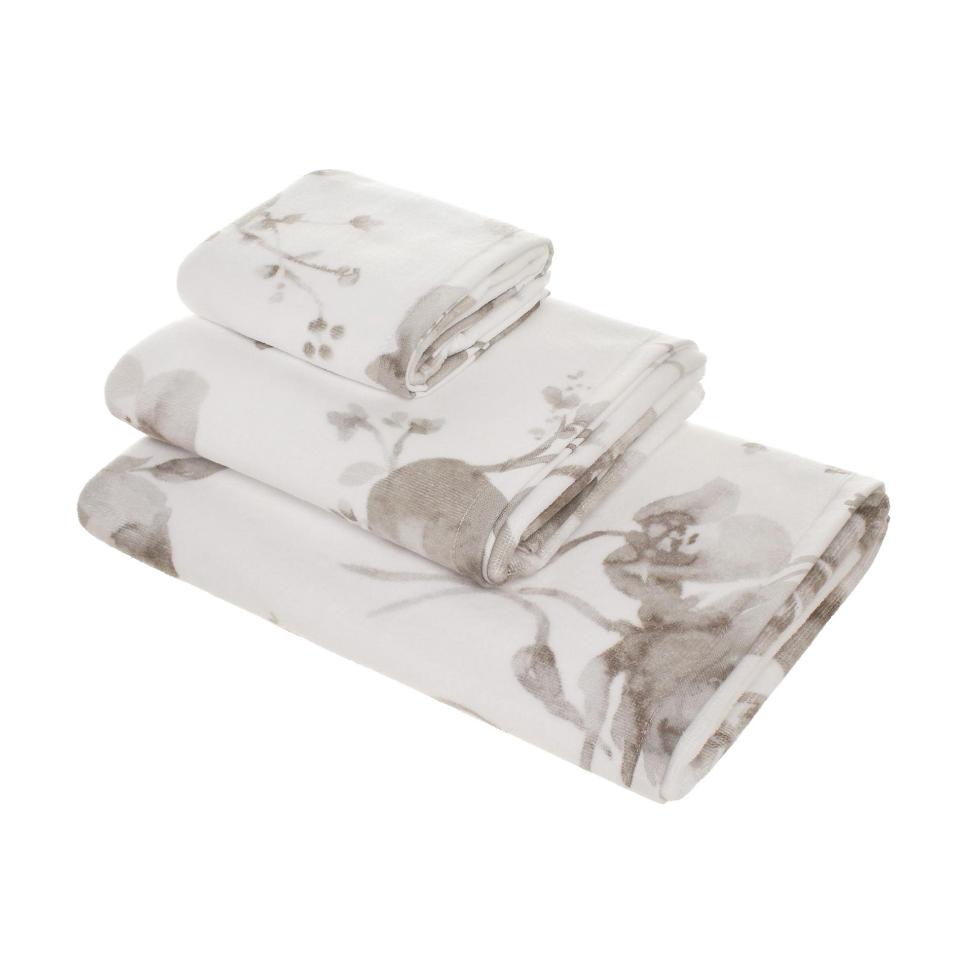 Asciugamano puro cotone floreale Portofino, Bianco/Grigio, large image number 0