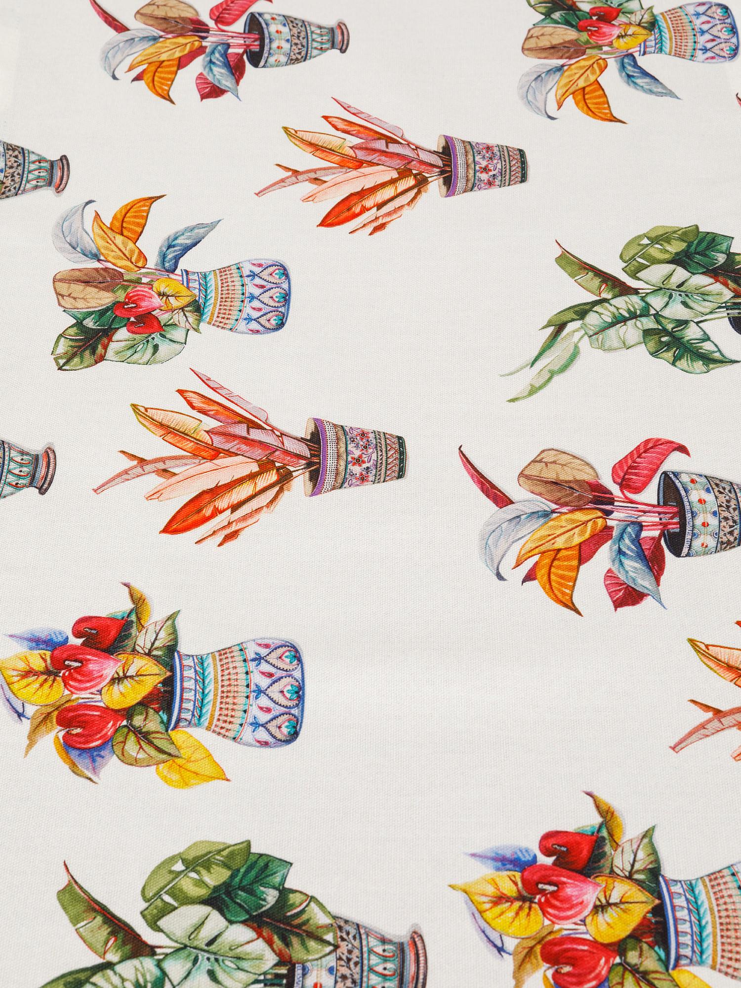 Runner puro cotone organico stampa vasi, Multicolor, large image number 1
