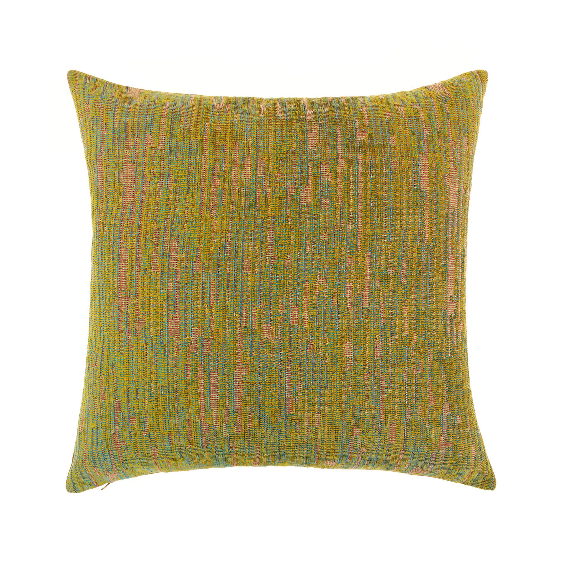 Cuscino jacquard motivo multicolore 50x50cm, Giallo senape, large image number 0