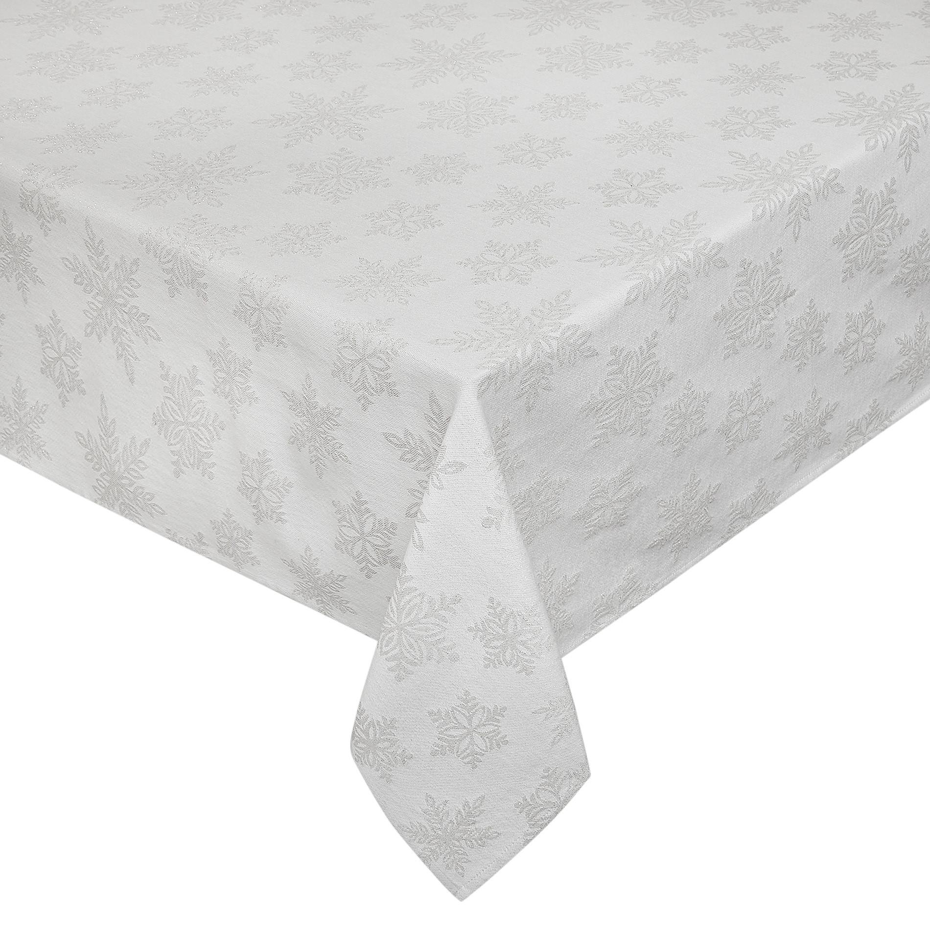 Tovaglia cotone e lurex stampa fiocchi di neve, Bianco, large image number 0