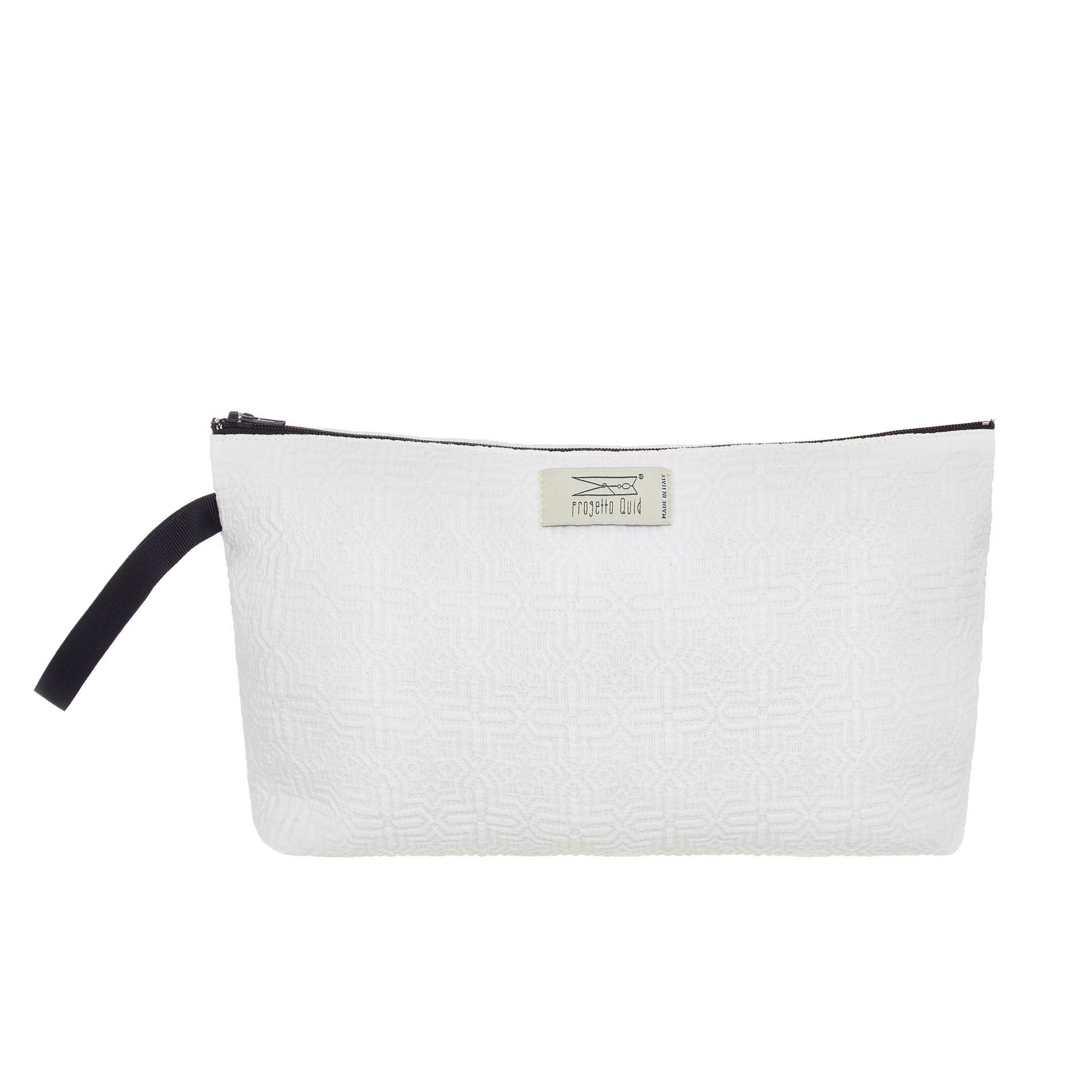Astuccio in cotone con zip, Bianco, large image number 0