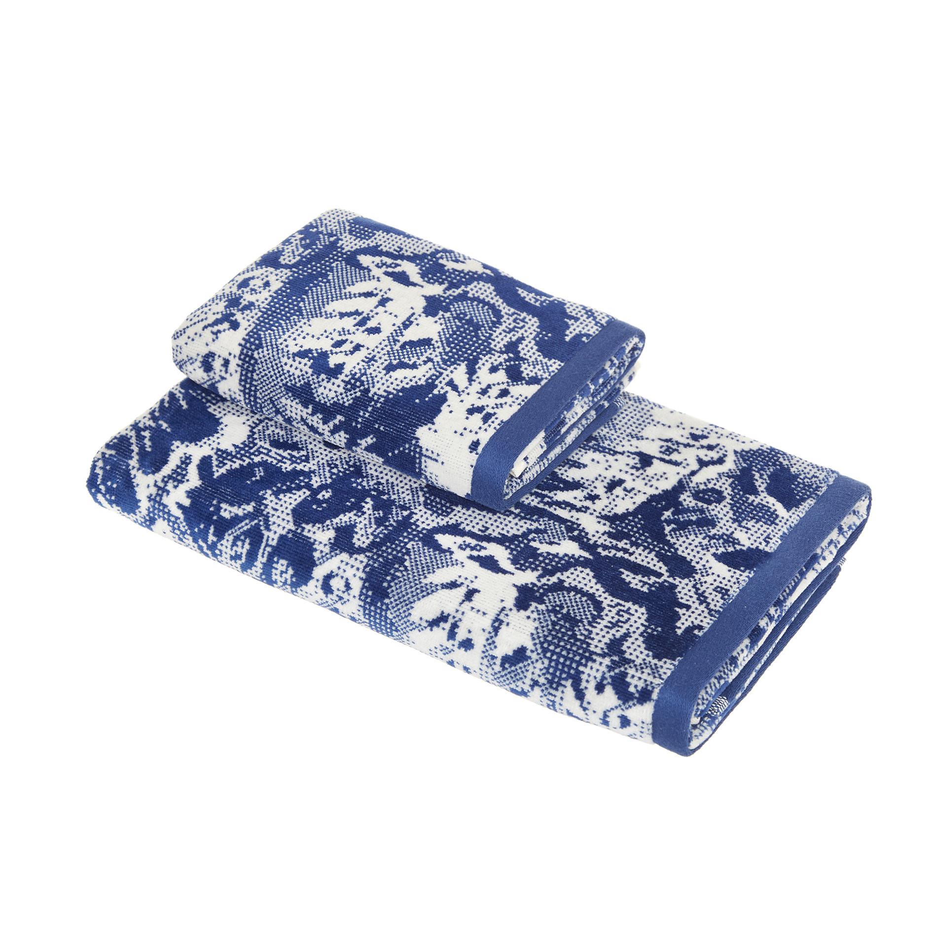 Asciugamano cotone velour motivo floreale, Blu, large image number 0