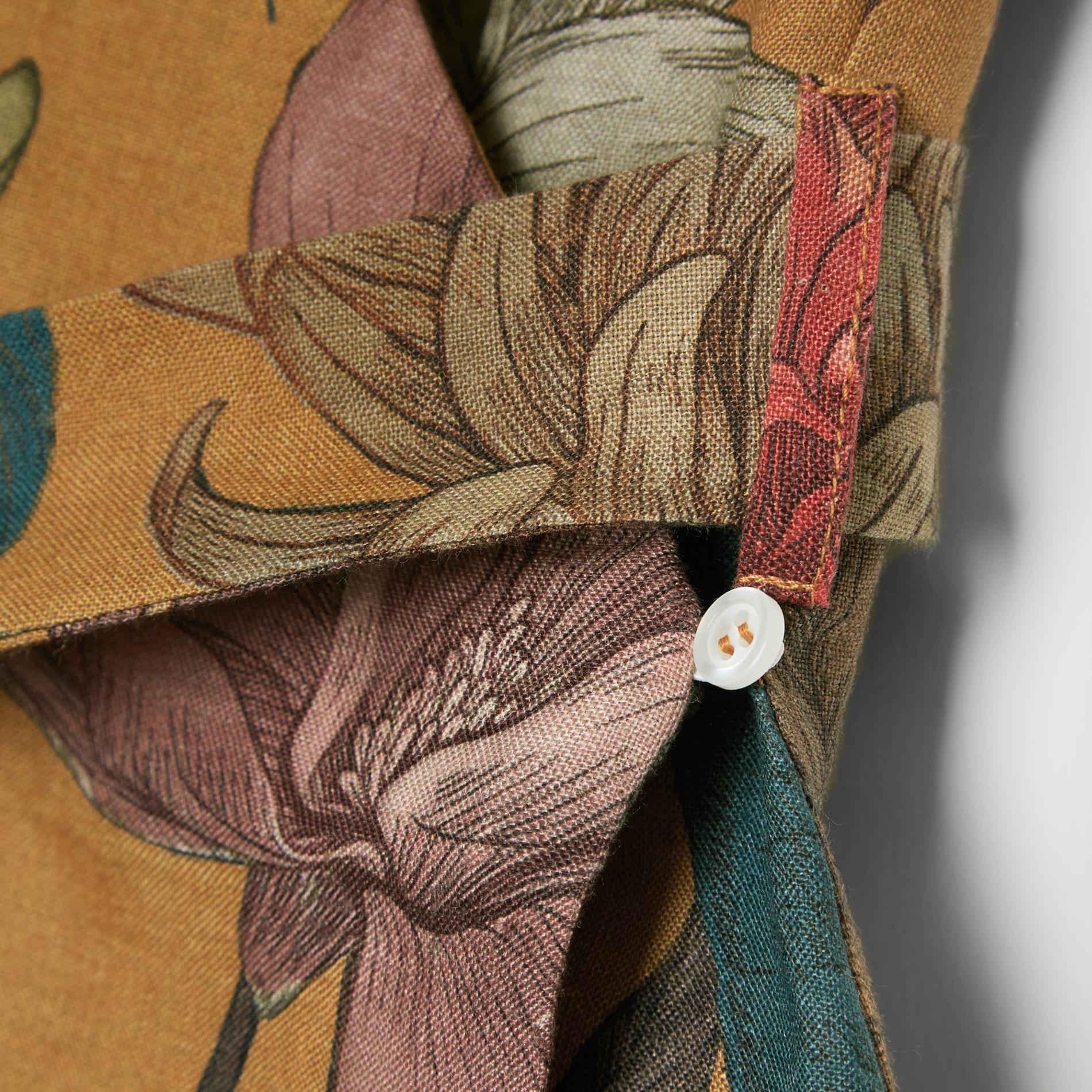 Abito a portafoglio in puro lino fantasia floreale, Multicolor, large image number 4