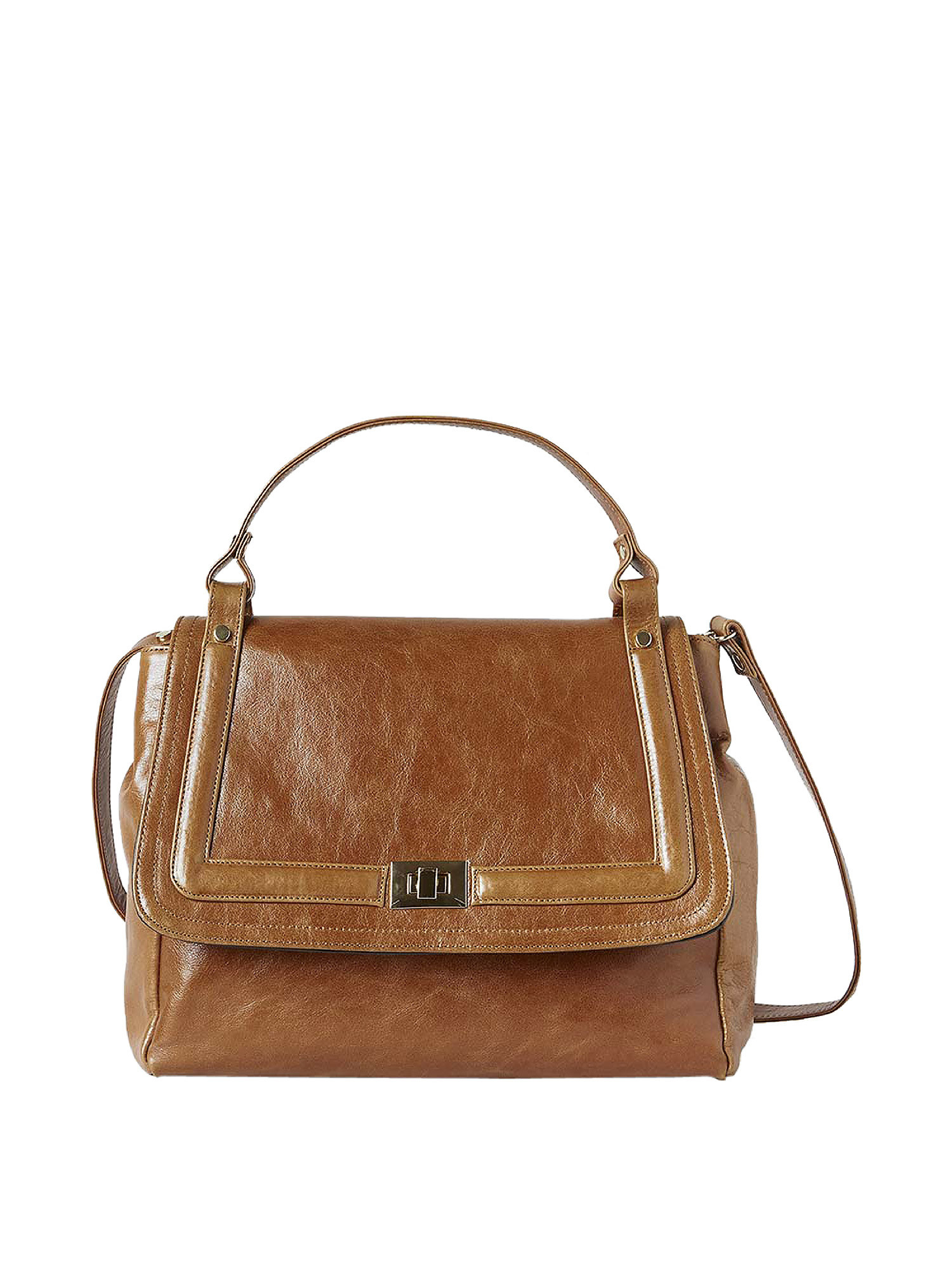 Borsa Flore in pelle, Marrone, large image number 0