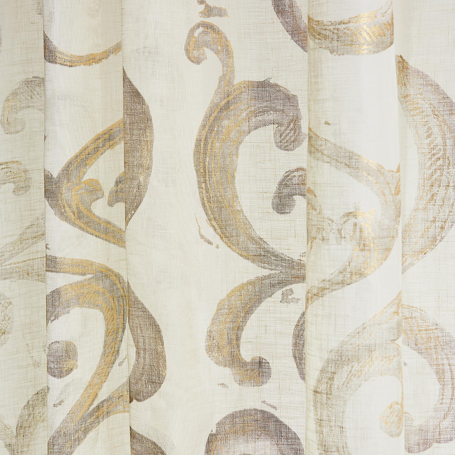 Tenda puro lino stampa devore, Bianco/Oro, large image number 3