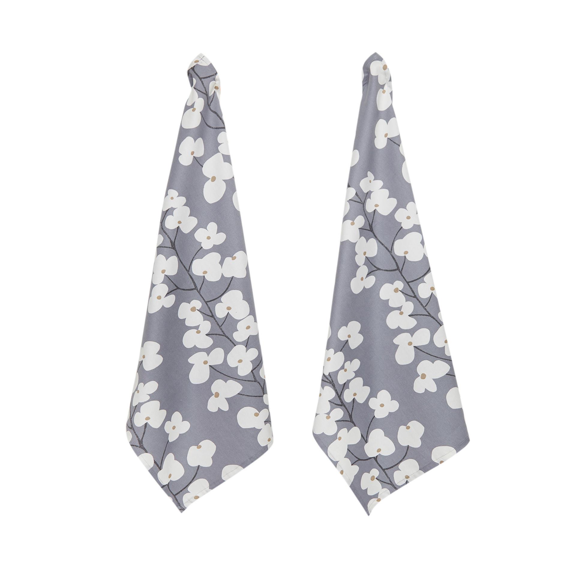 Set 2 strofinacci cotone stampa fiori, Bianco/Blu, large image number 0
