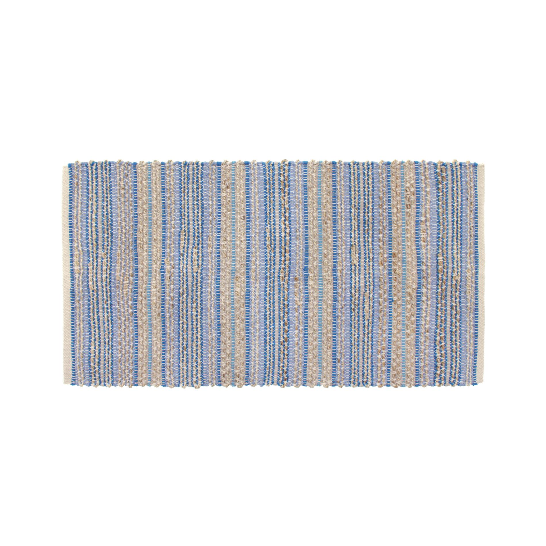 Tappeto cucina cotone e juta a righe, Blu, large image number 0
