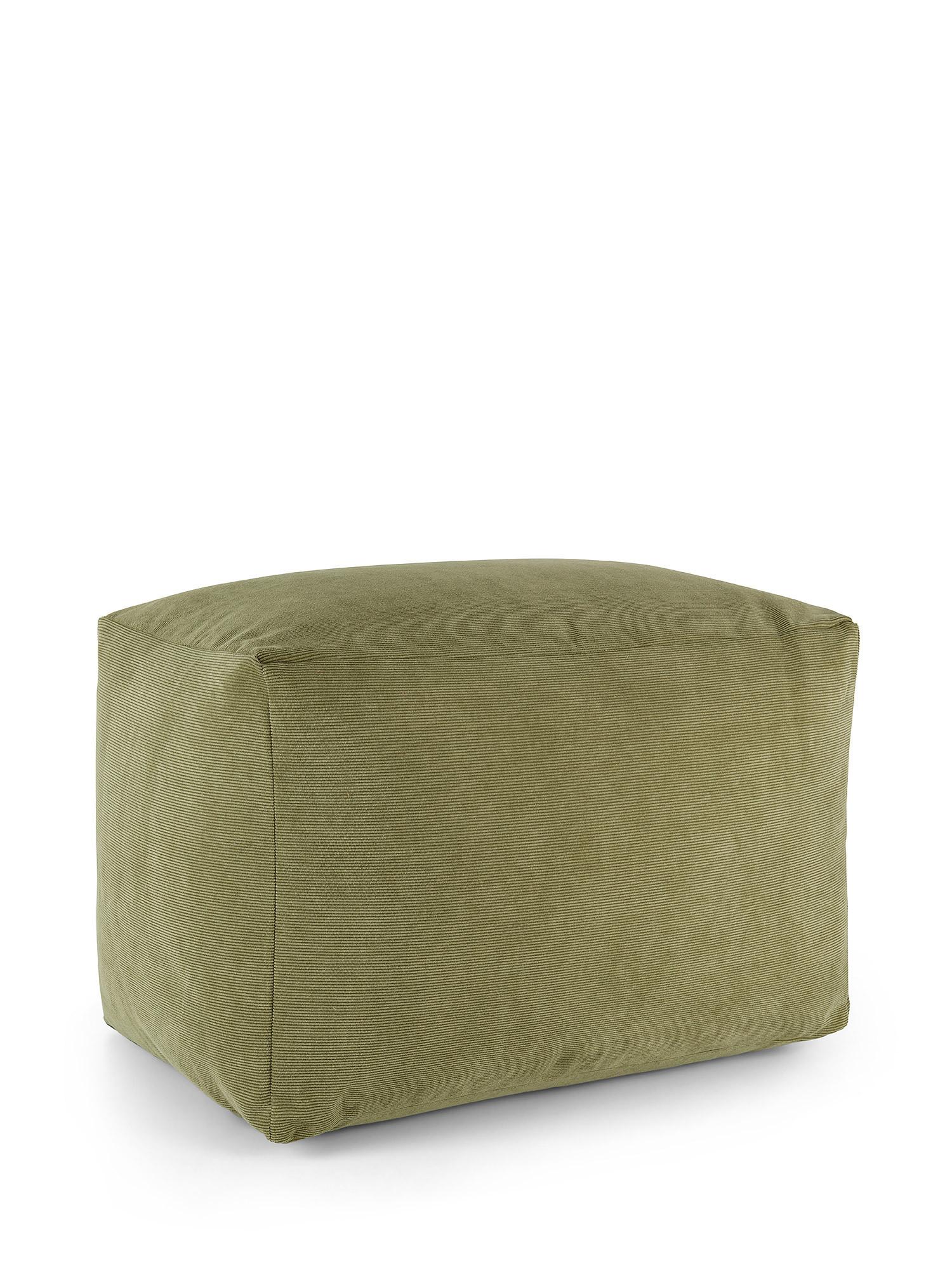 Pouf velluto a costine tinta unita, Verde, large image number 0