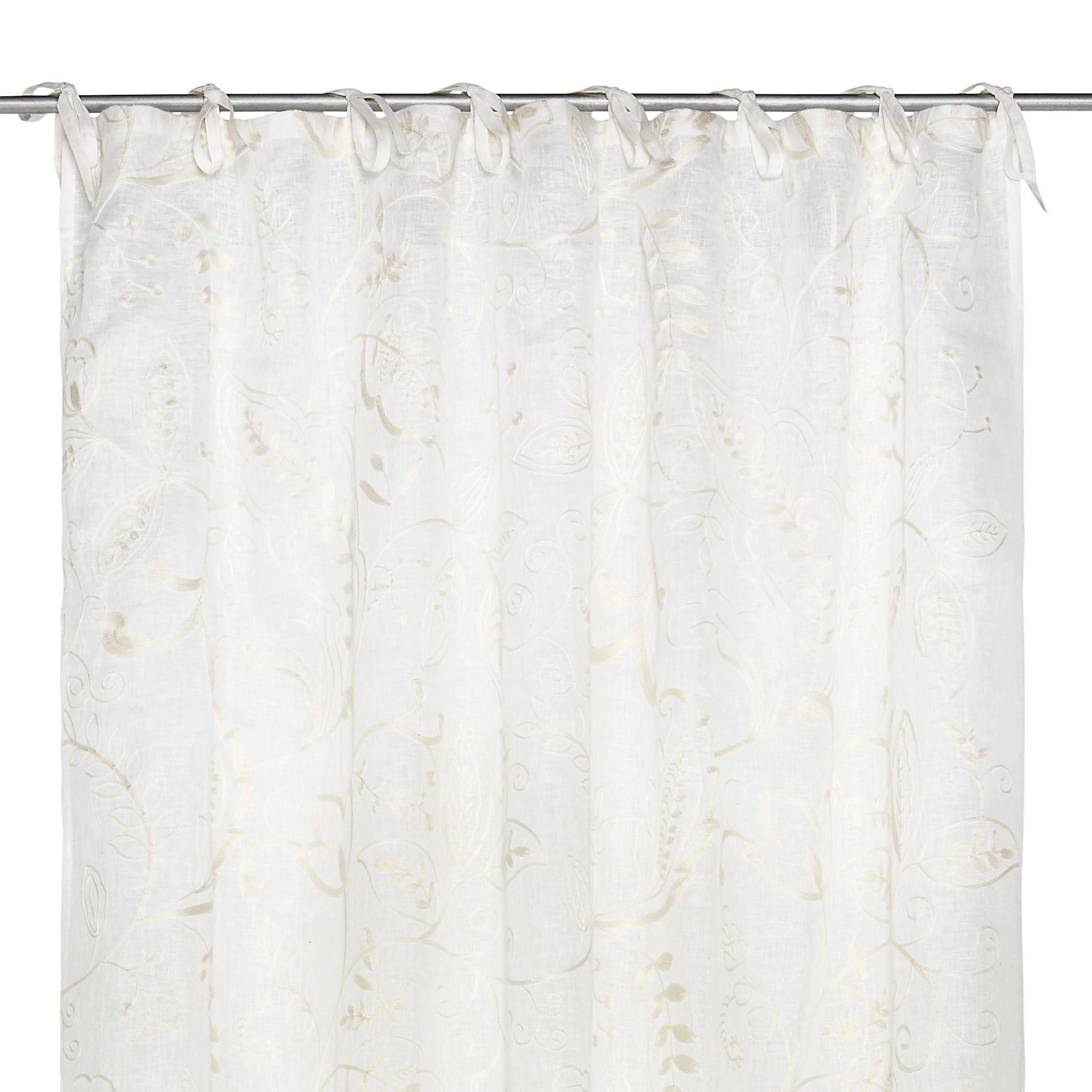Tenda puro lino ricami floreali, Bianco, large image number 3