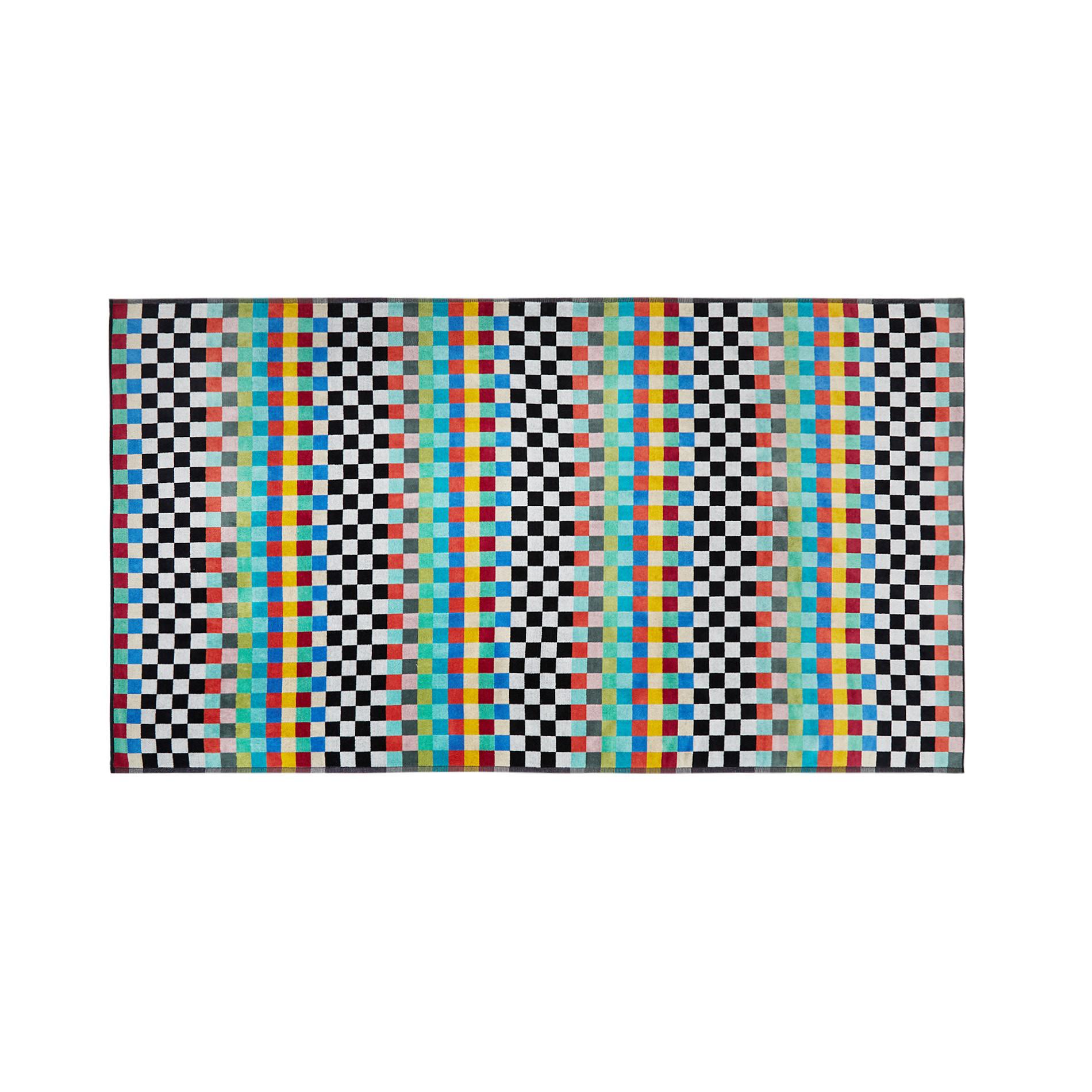 Telo mare cotone velour motivo check, Multicolor, large image number 0