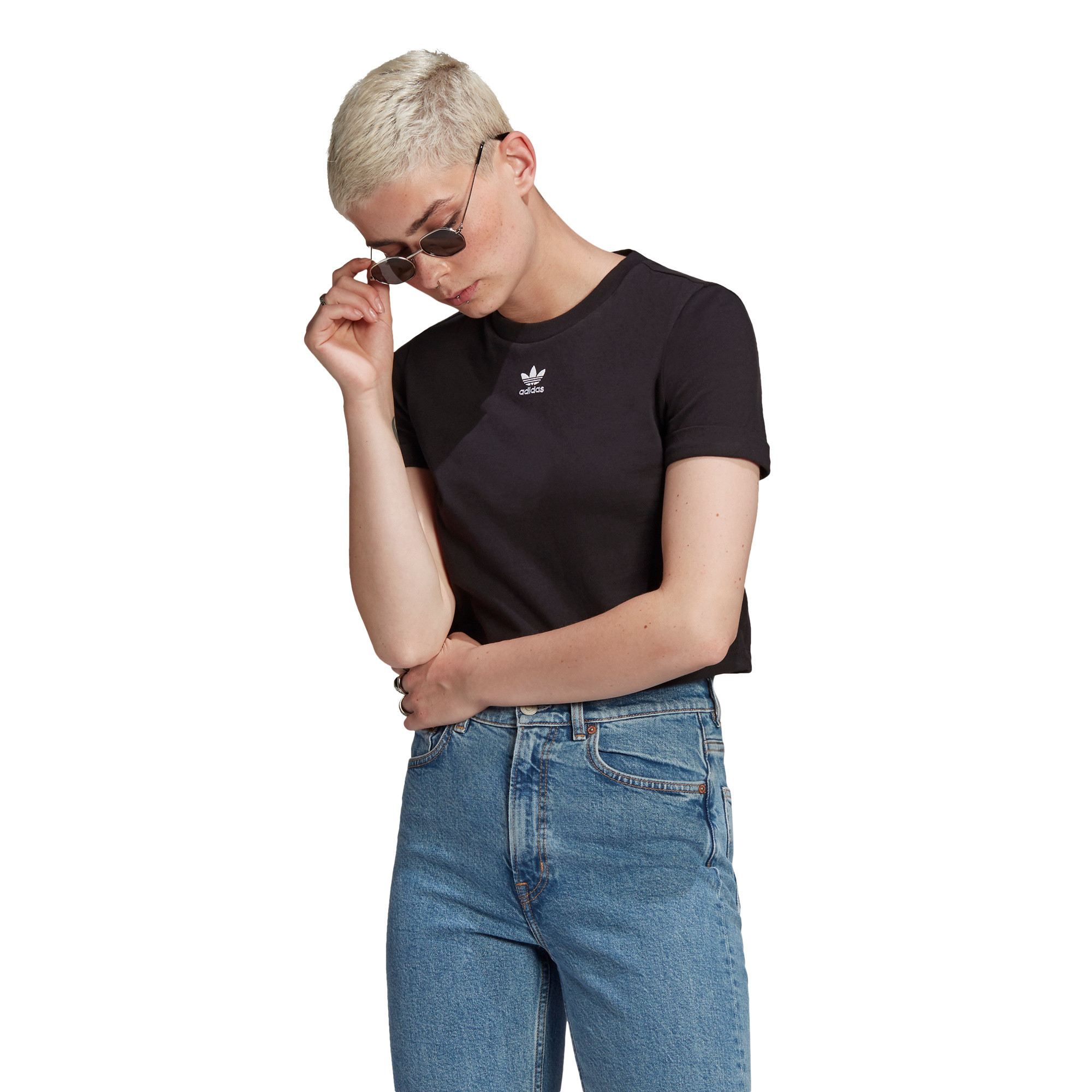 T-shirt adicolor Classics Roll-Up Sleeve Crop, Nero, large image number 4