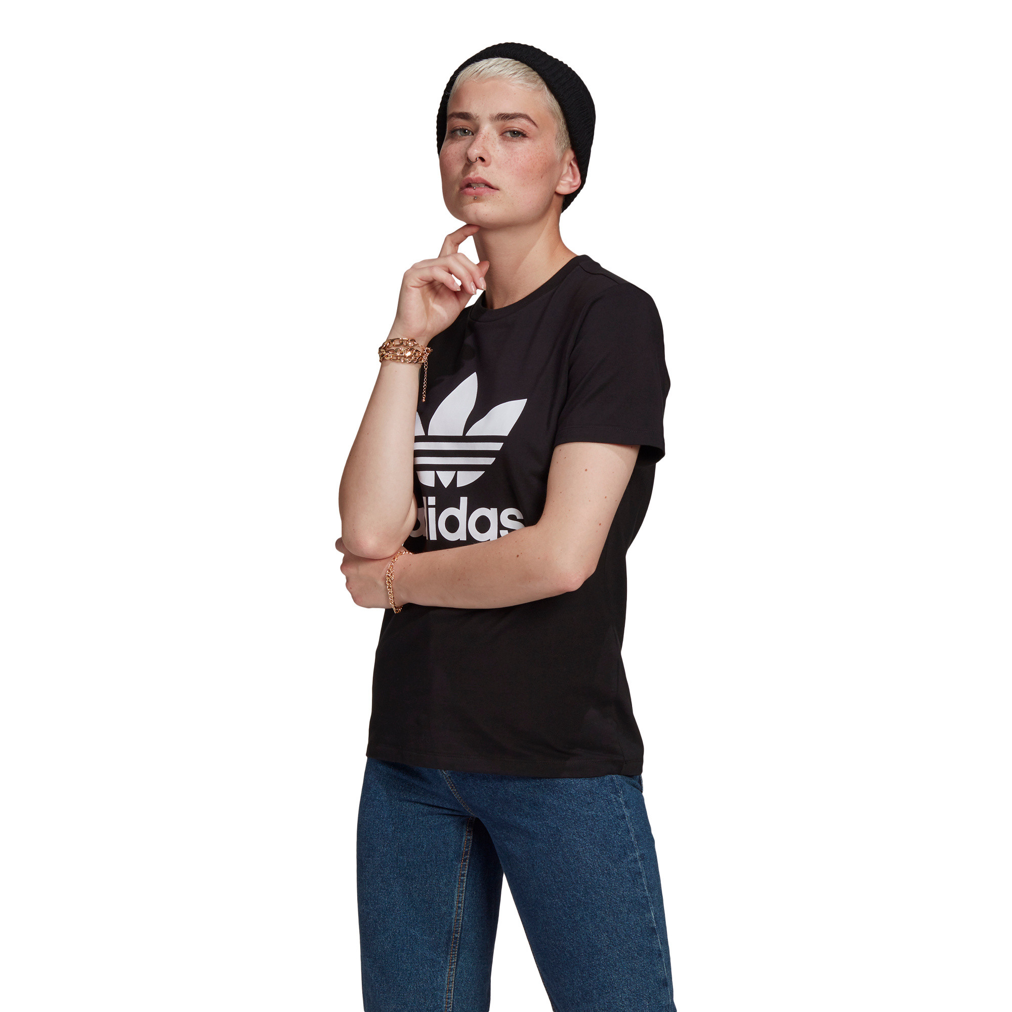 T-shirt adicolor Classics Trefoil, Nero, large image number 5