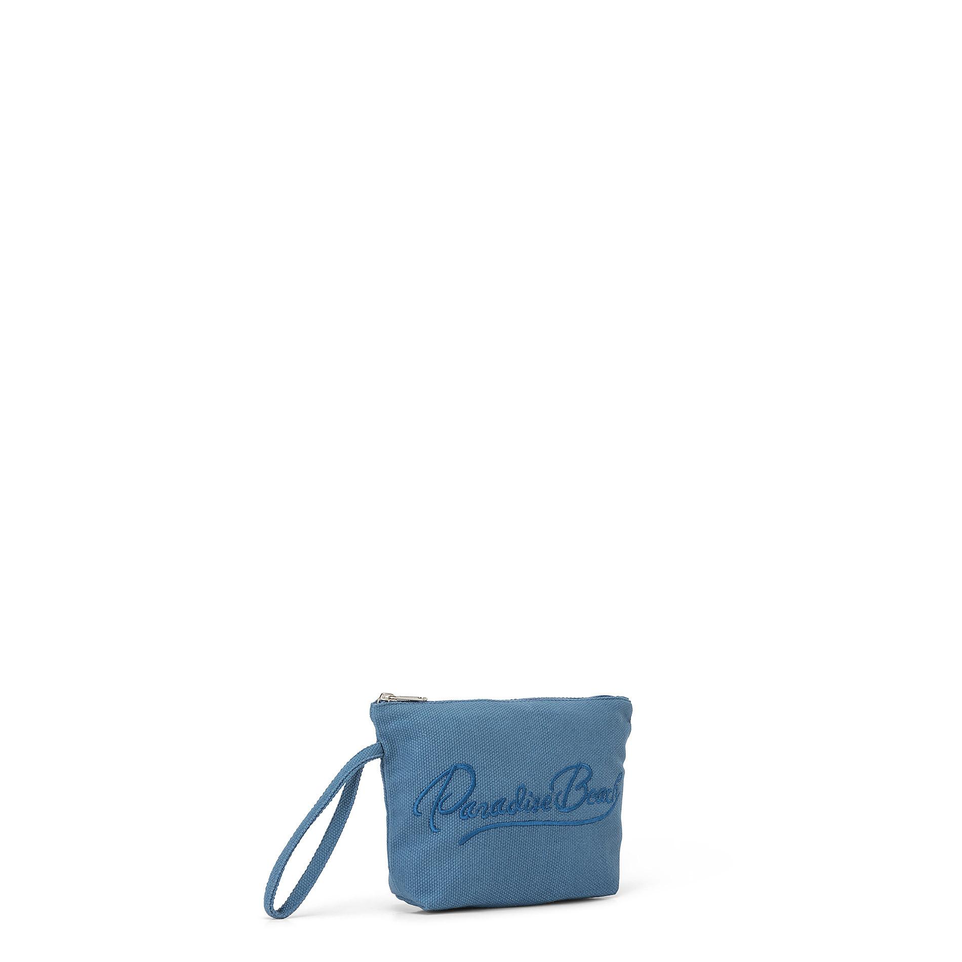 Bustina in canvas di cotone con ricamo, Blu, large image number 1
