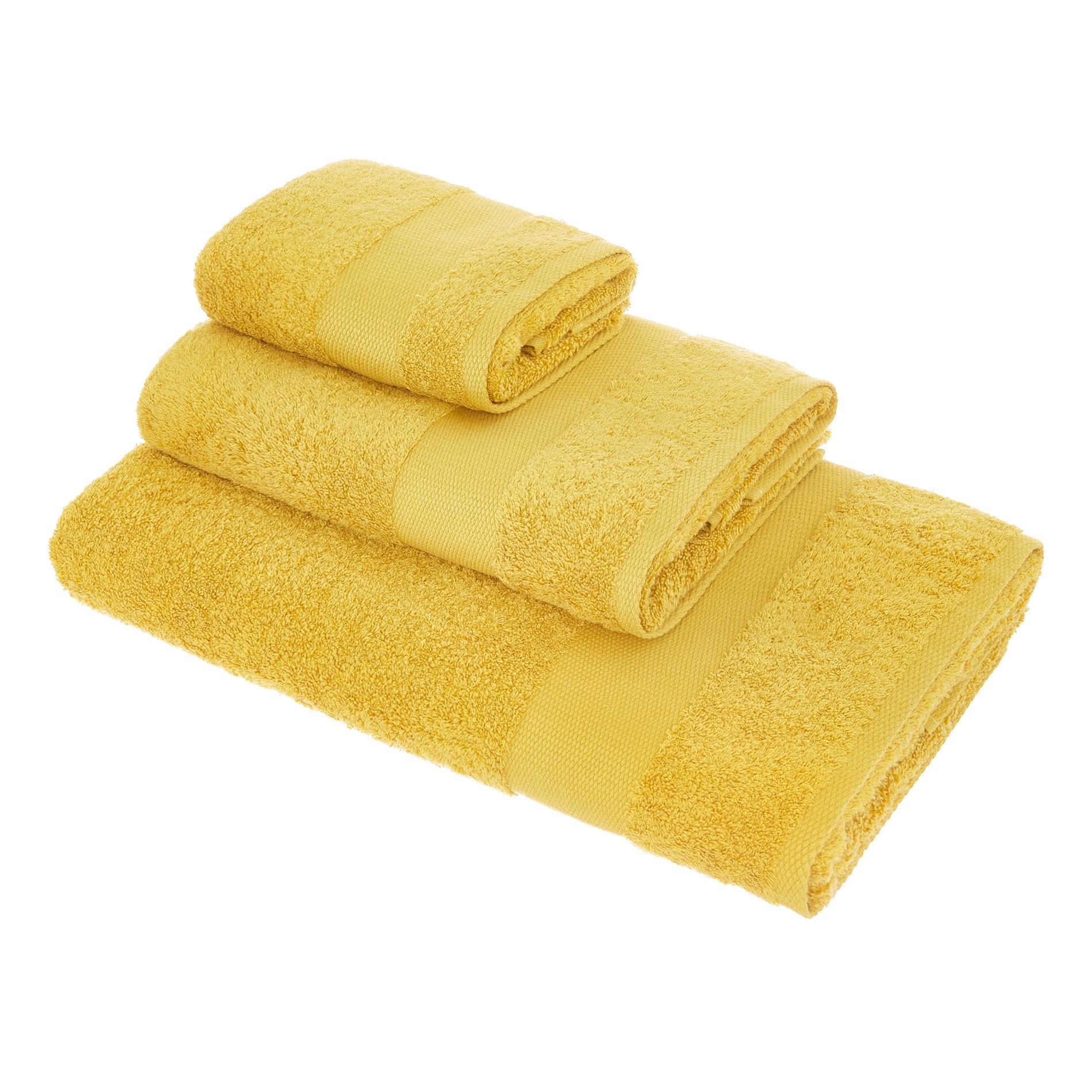 Asciugamano spugna di puro cotone Zefiro, Giallo senape, large image number 0
