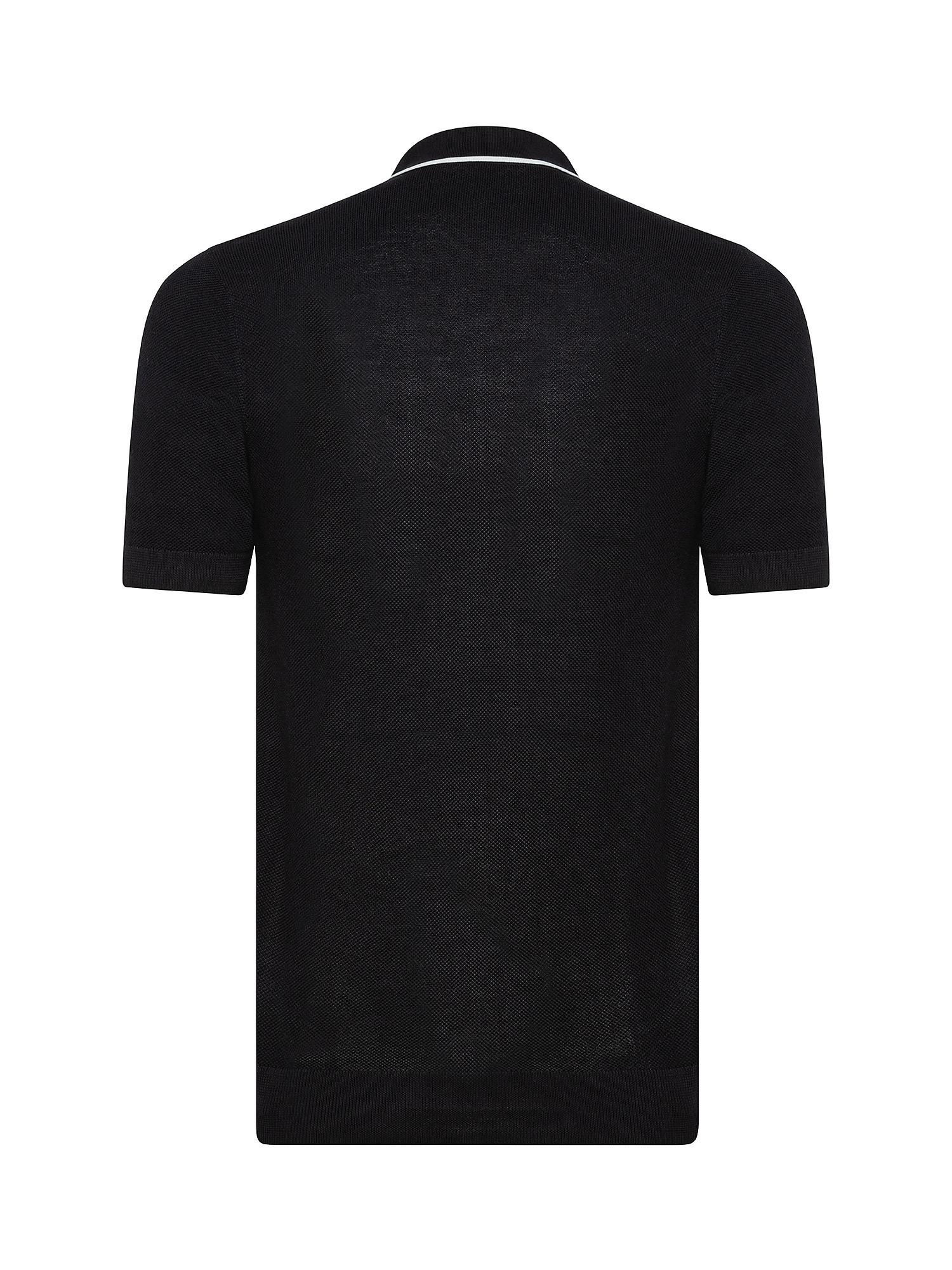 Polo in maglia con riga, Nero, large image number 1