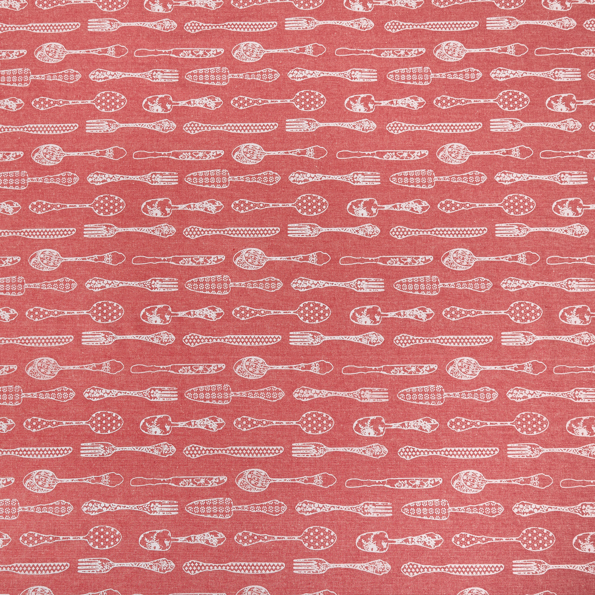 Tovaglia puro cotone idrorepellente stampa posate, Rosso, large image number 1