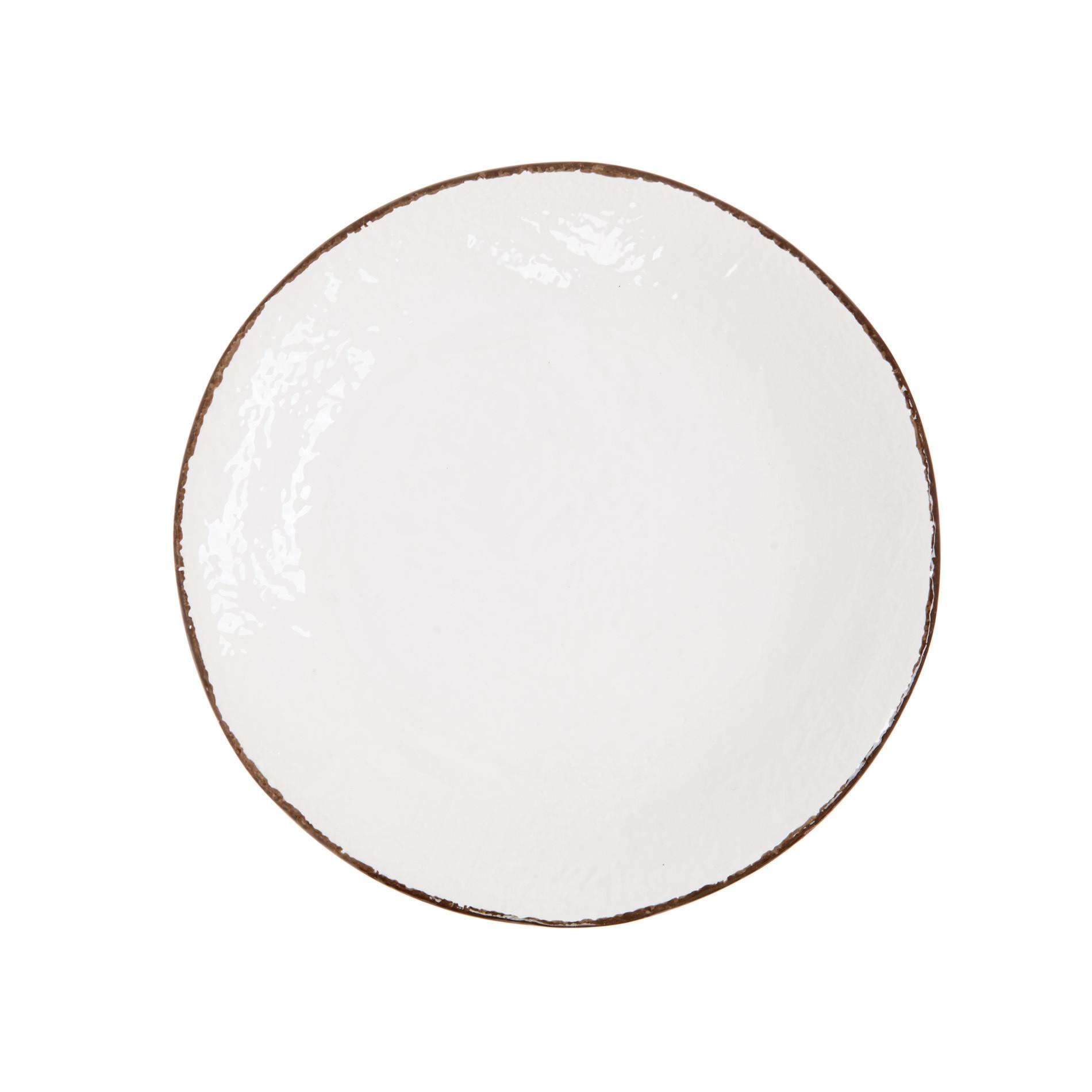 Piatto piano ceramica artigianale Preta, Bianco, large image number 1