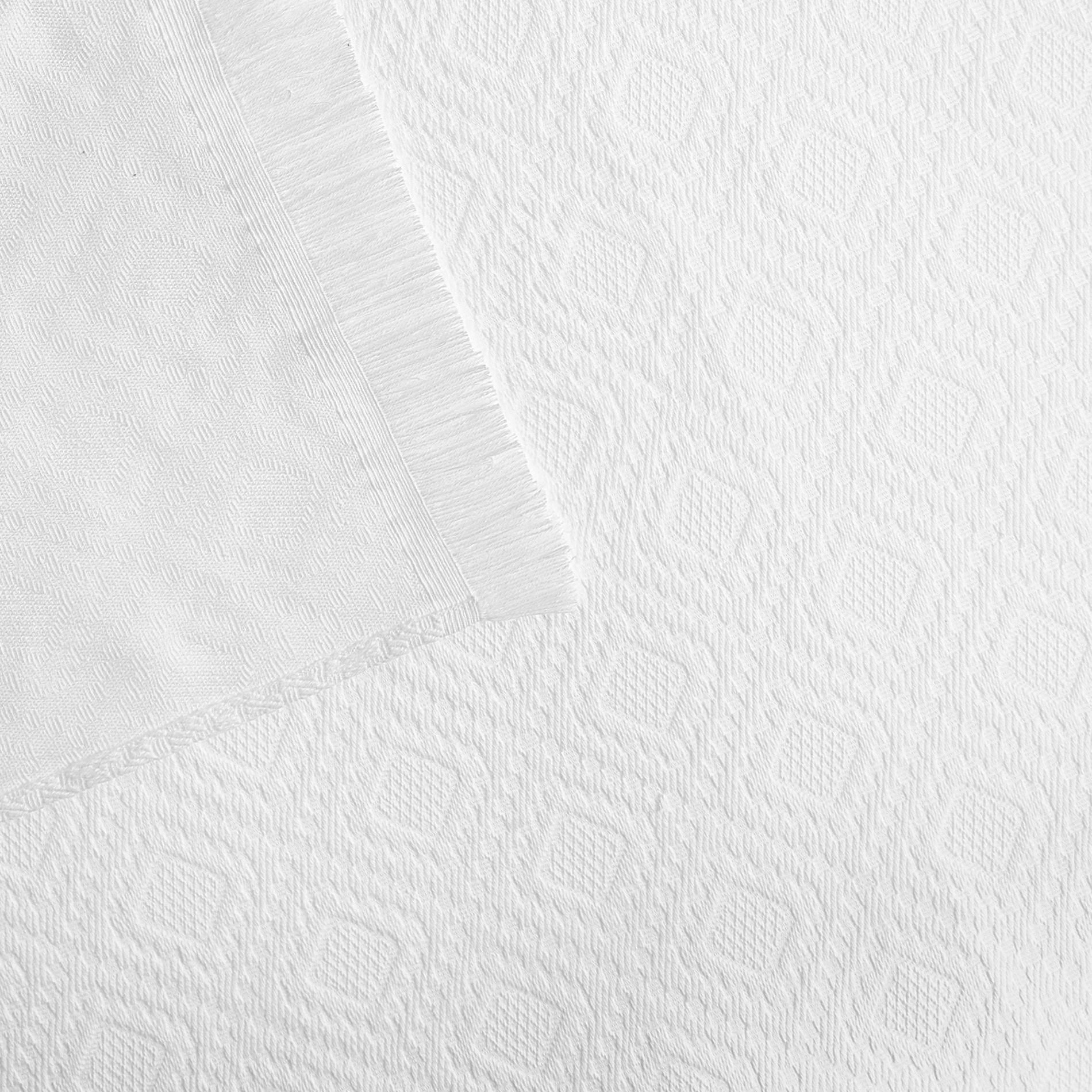 Copriletto cotone con frangette, Bianco, large image number 1