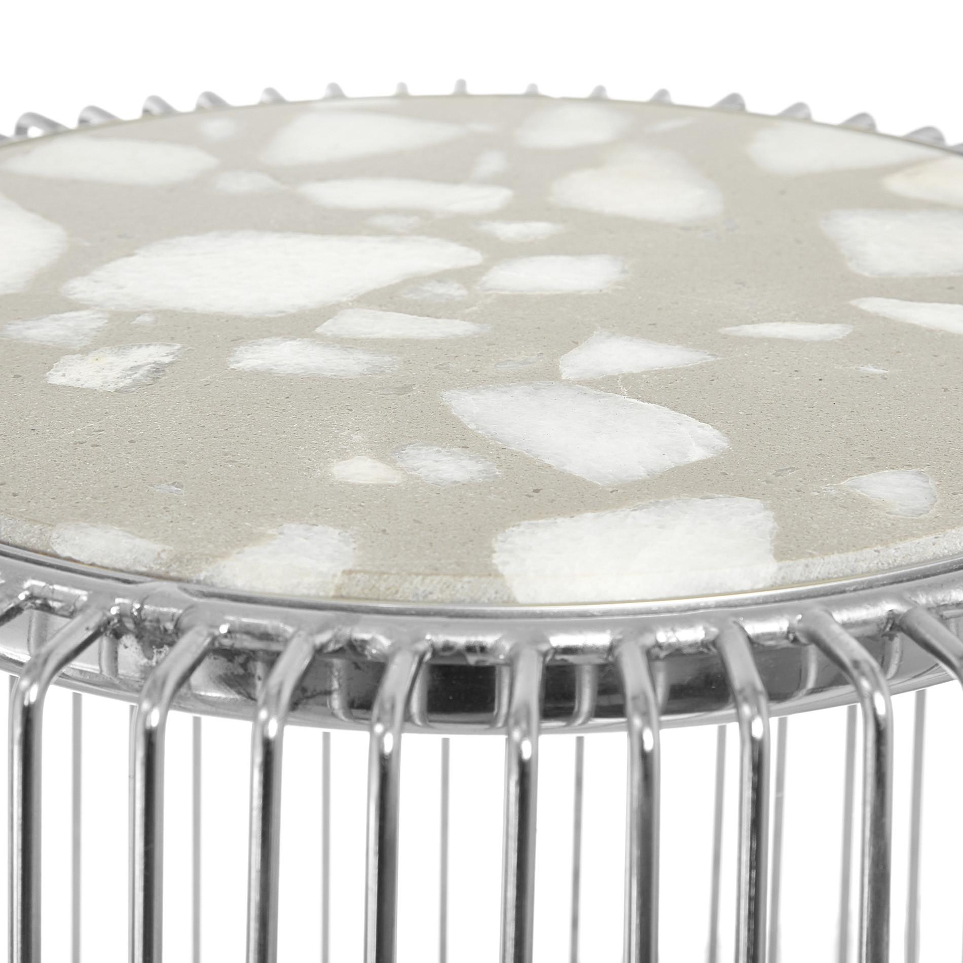 Tavolino in alluminio cromato e pietra Marble, Grigio argento, large image number 1
