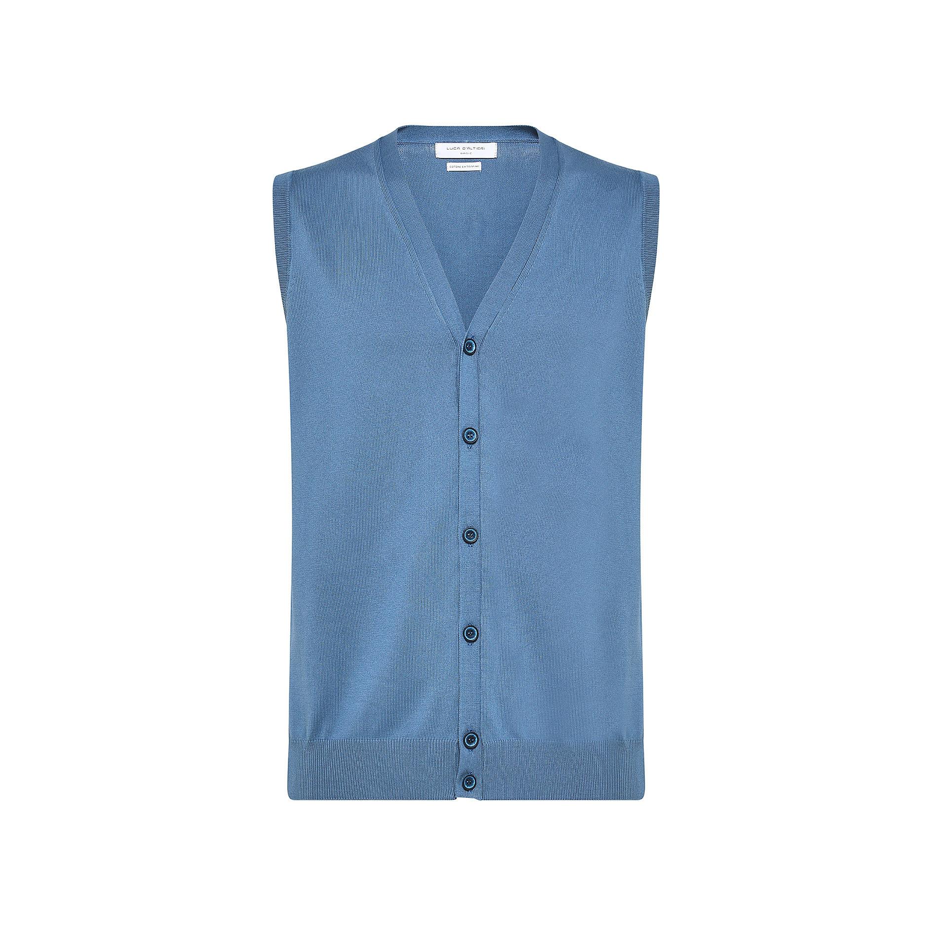 Gilet puro cotone con bottoni Luca D'Altieri, Azzurro, large image number 0