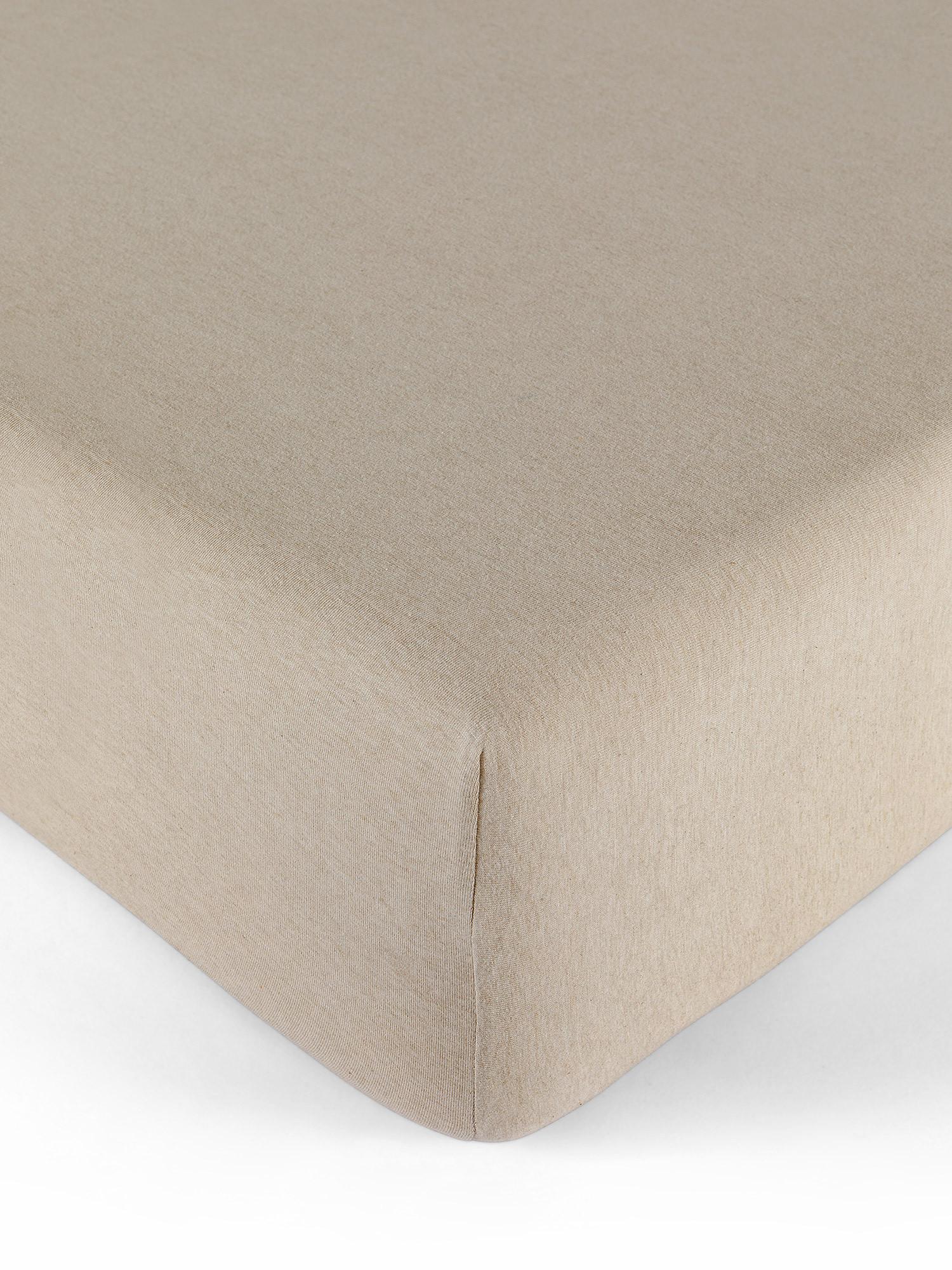 Lenzuolo con angoli jersey di cotone tinta unita, Beige, large image number 0