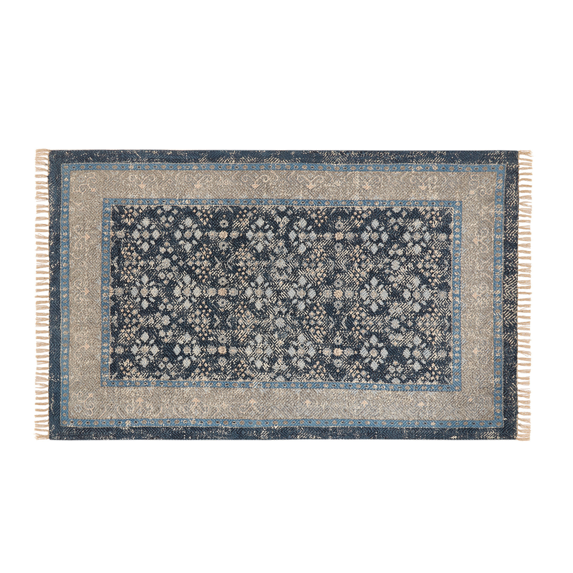 Tappeto cotone motivo floreale effetto vintage, Blu, large image number 0