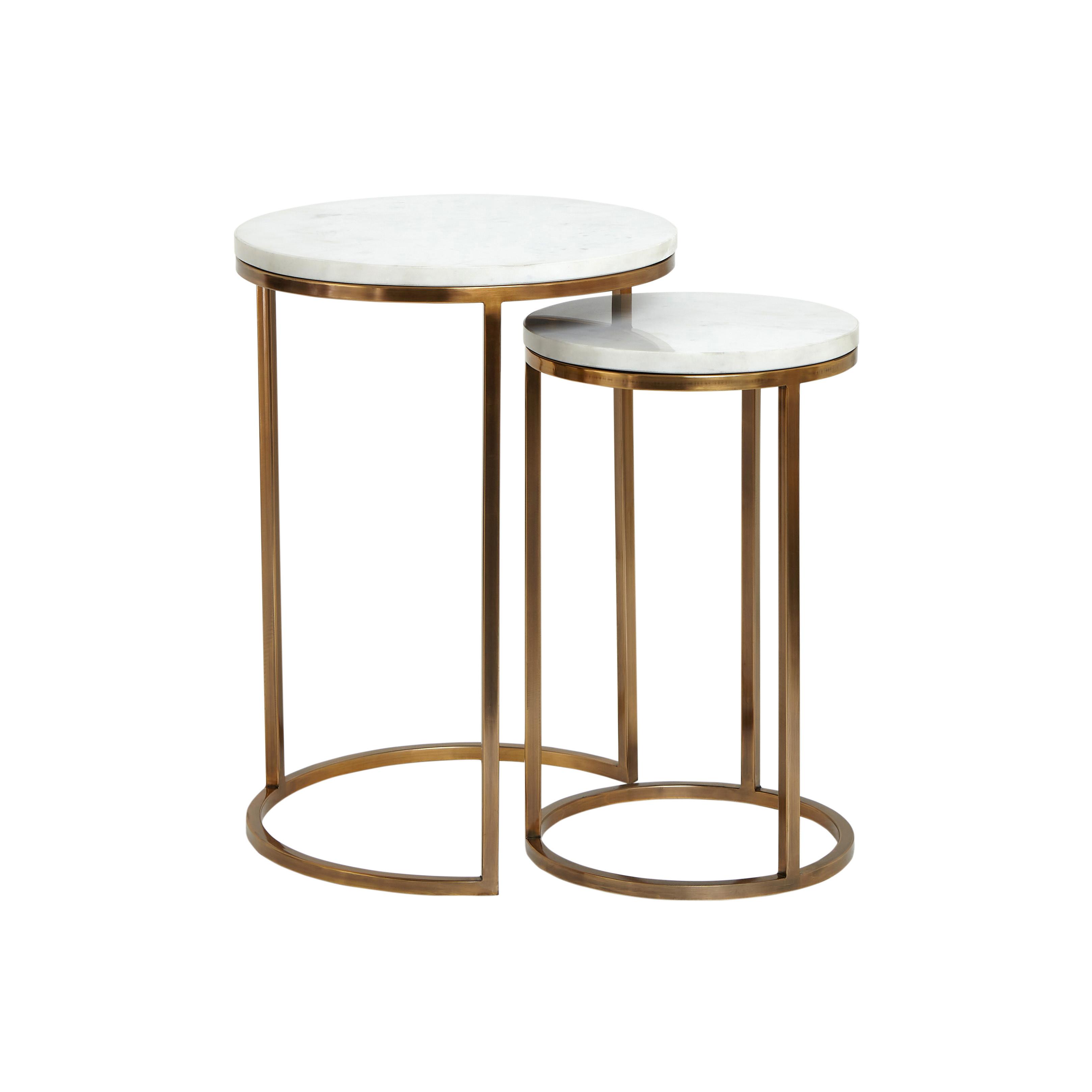 Set 2 tavolini acciaio e marmo Marble, Bianco, large image number 0
