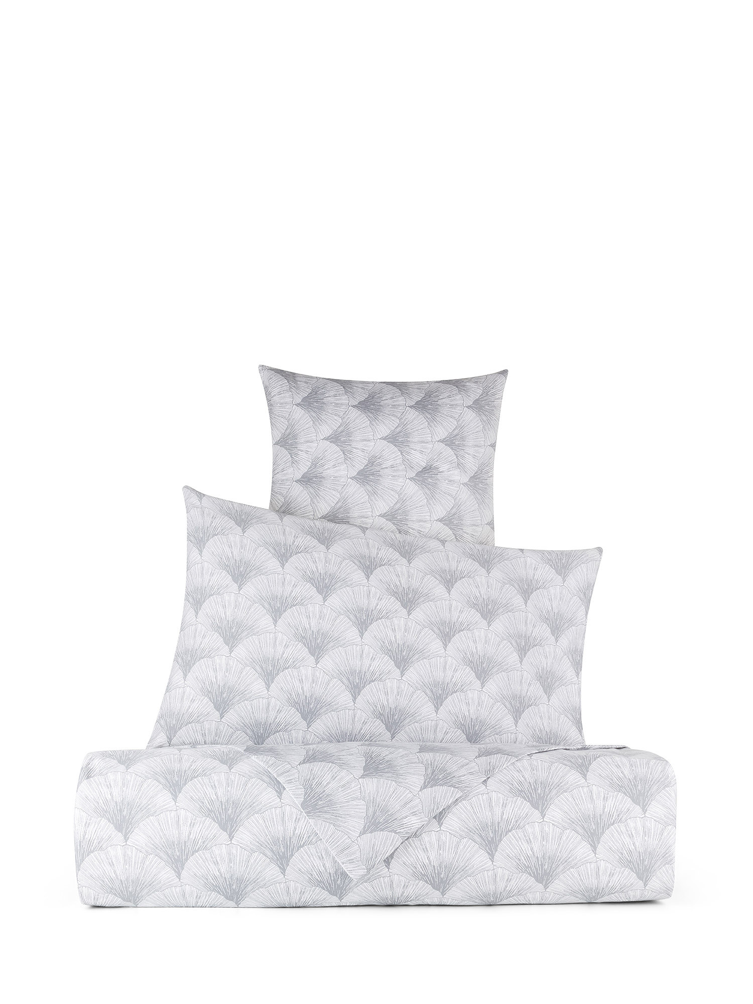 Federa raso di cotone fantasia Ginkgo, Bianco, large image number 2