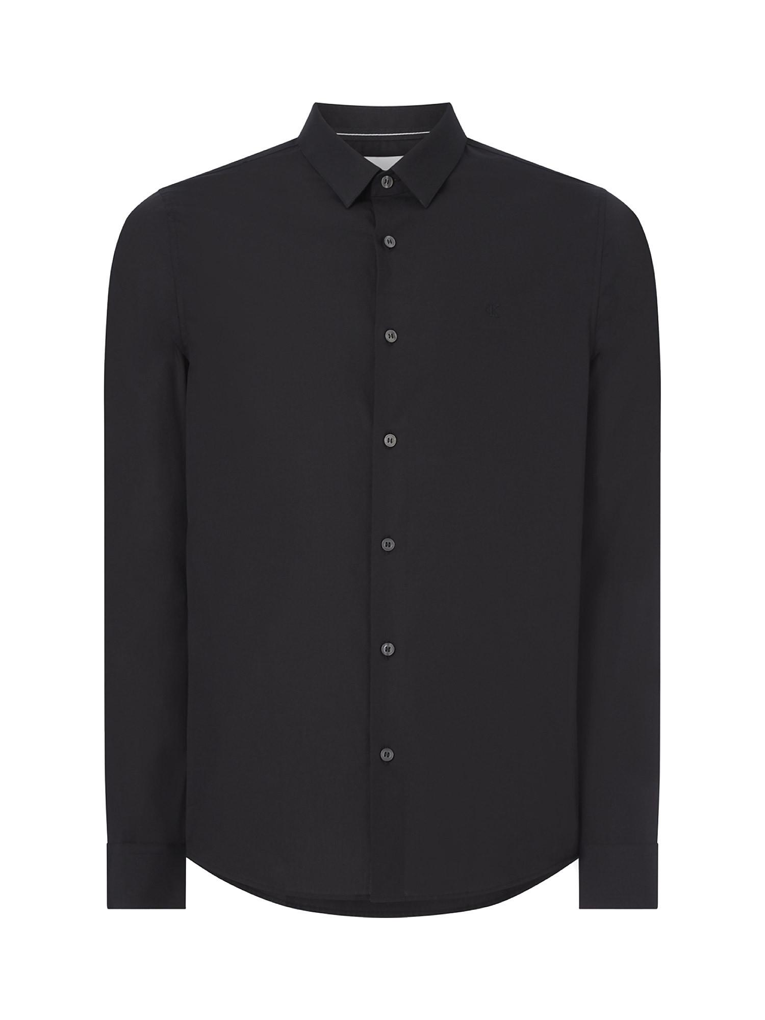 Camicia in cotone elasticizzato, Nero, large image number 0