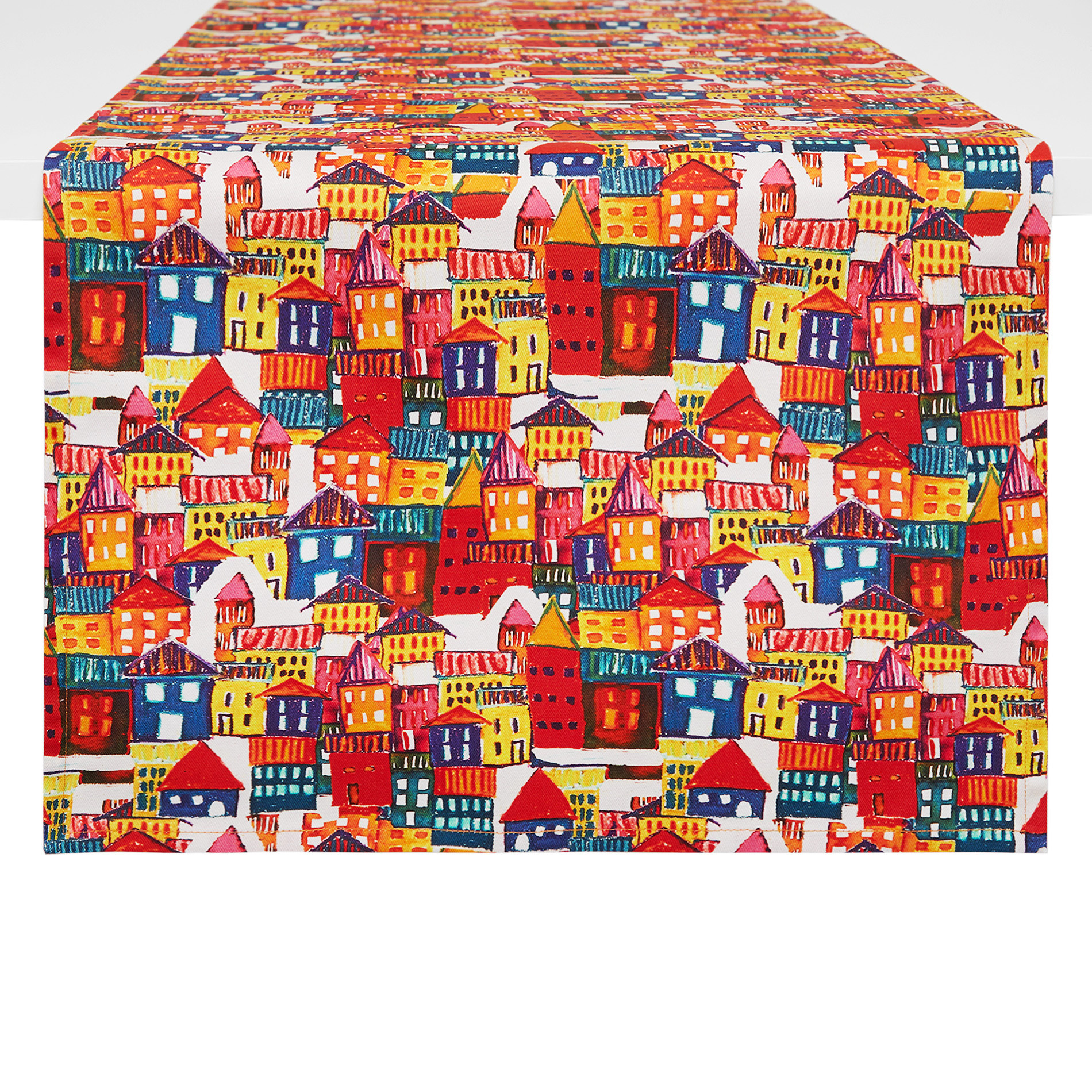 Runner twill di cotone stampa casette, Multicolor, large image number 0