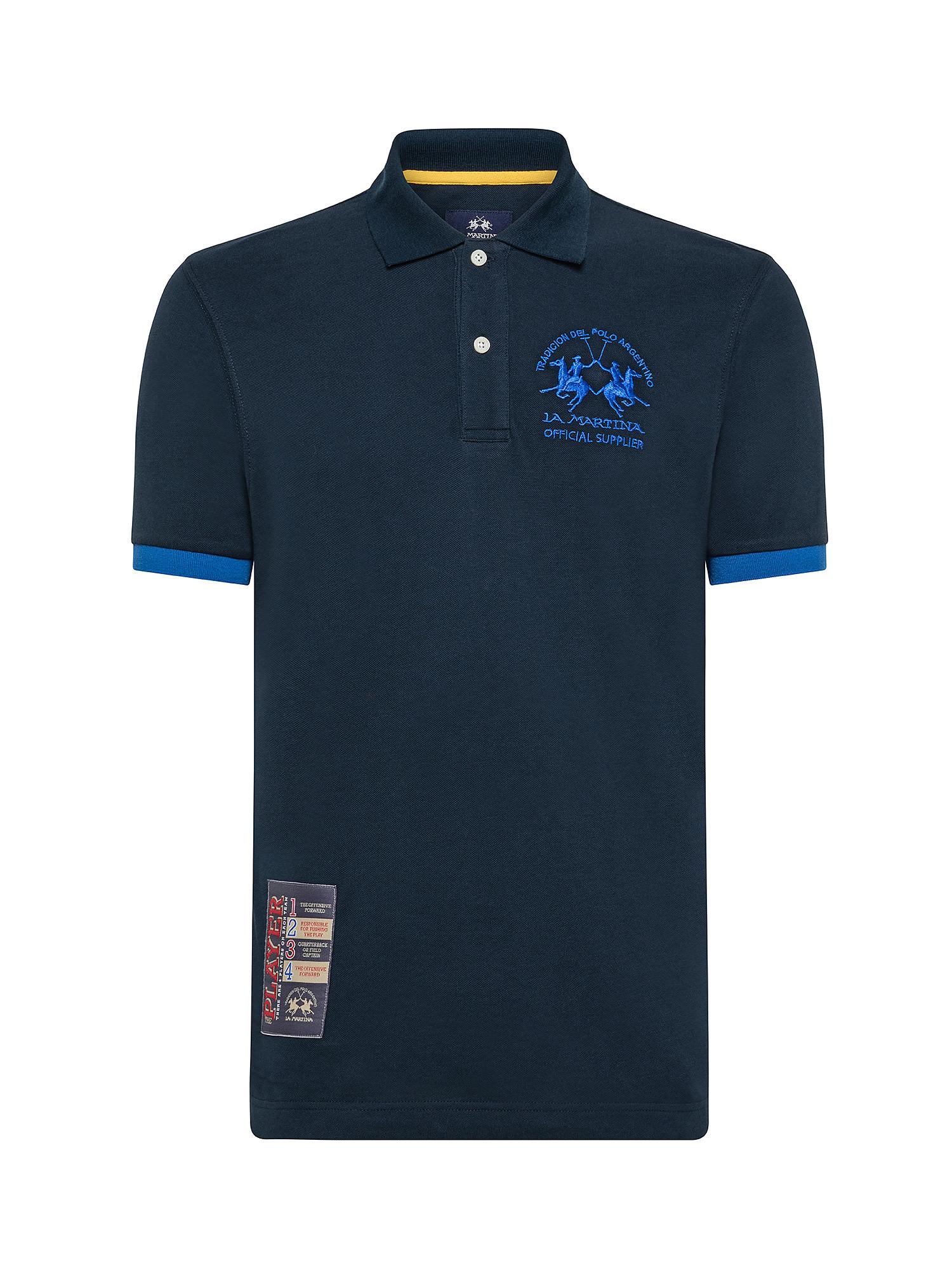 Polo da uomo a maniche corte regular fit, Blu, large image number 0