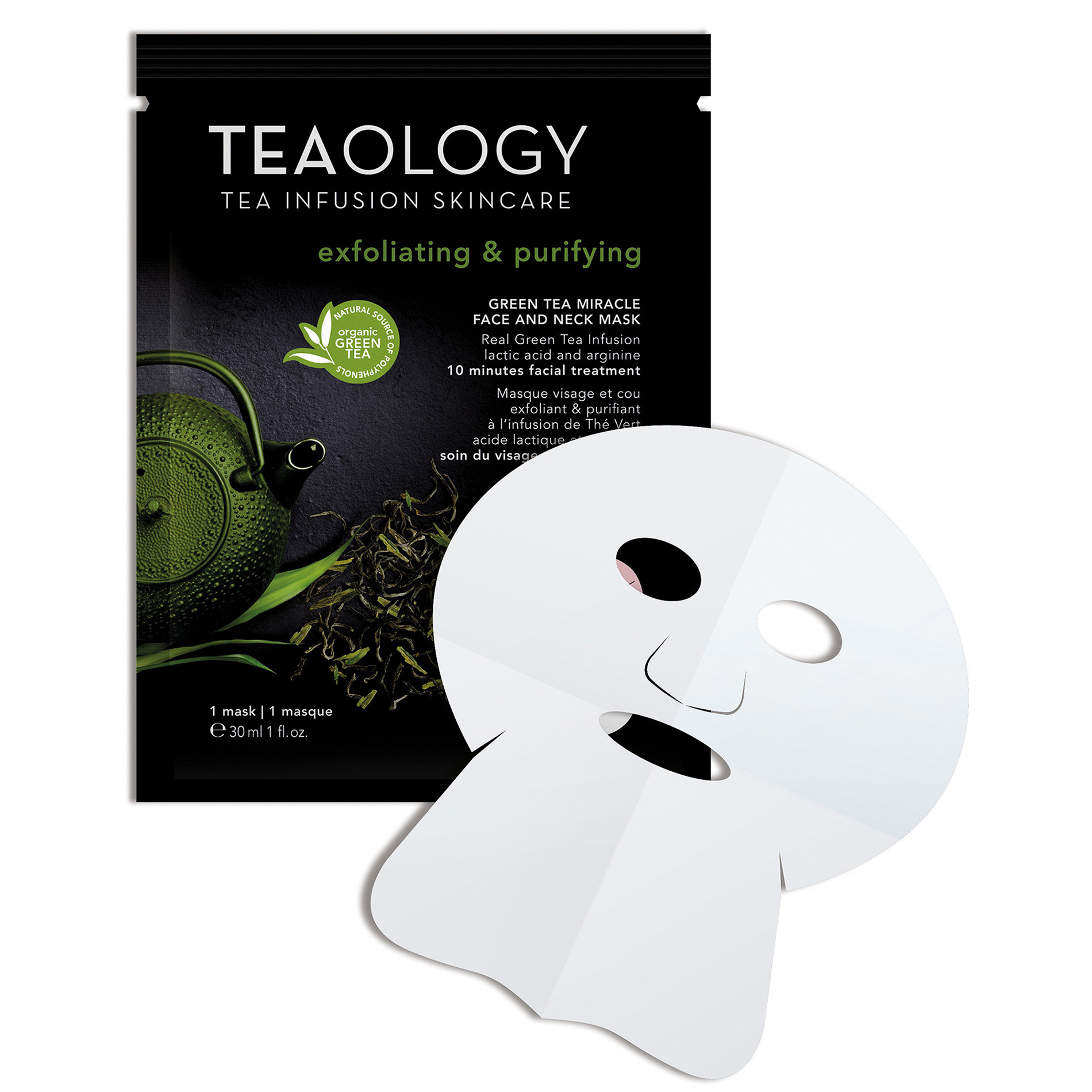 Green Tea Miracle Face and Neck Mask Esfoliante e Purificante 30 ml, Nero, large image number 0