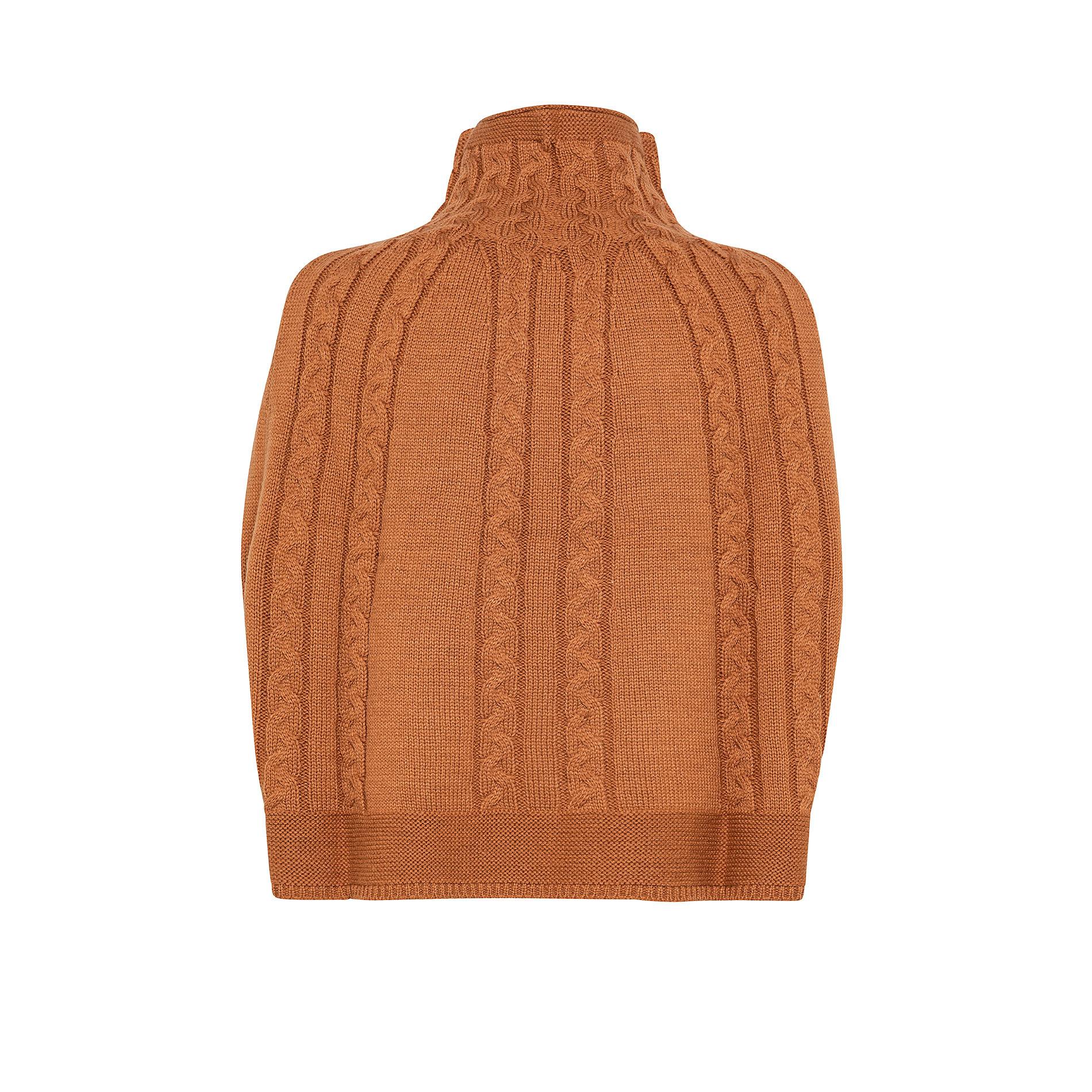 Sciarpa poncho in maglia a trecce Koan, Giallo, large image number 1