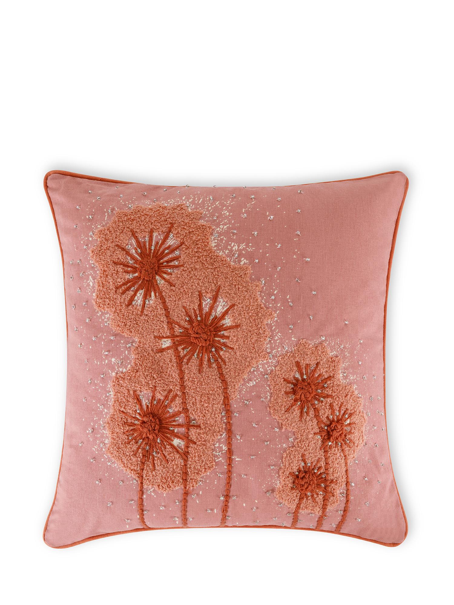 Cuscino cotone ricamo soffioni 45x45cm, Multicolor, large image number 0