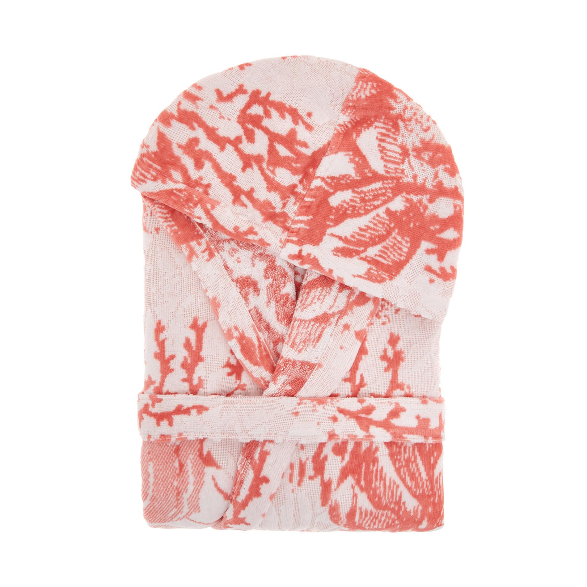 Accappatoio cotone velour stampa coralli, Rosso corallo, large image number 0
