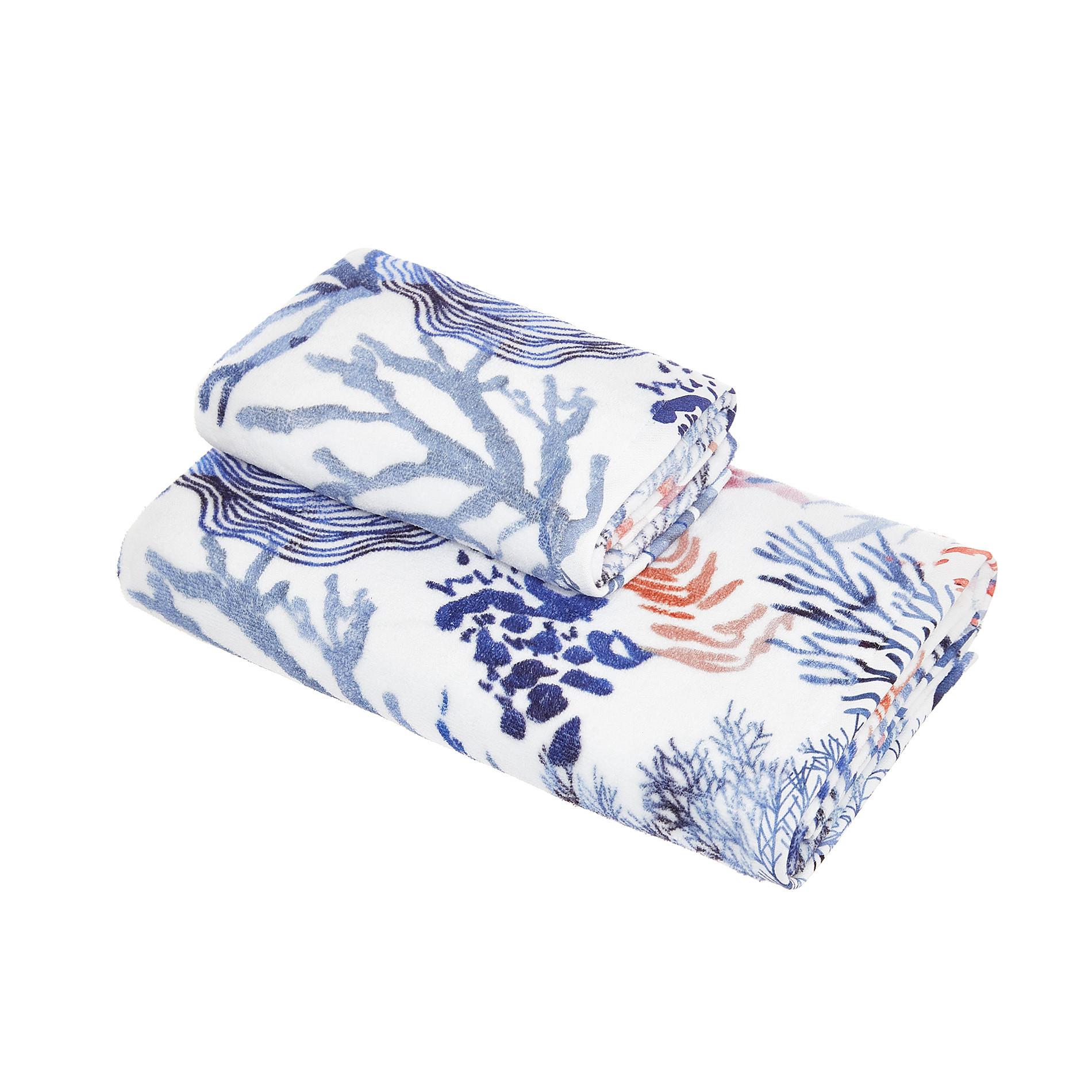 Asciugamano cotone velour stampa coralli, Bianco, large image number 0