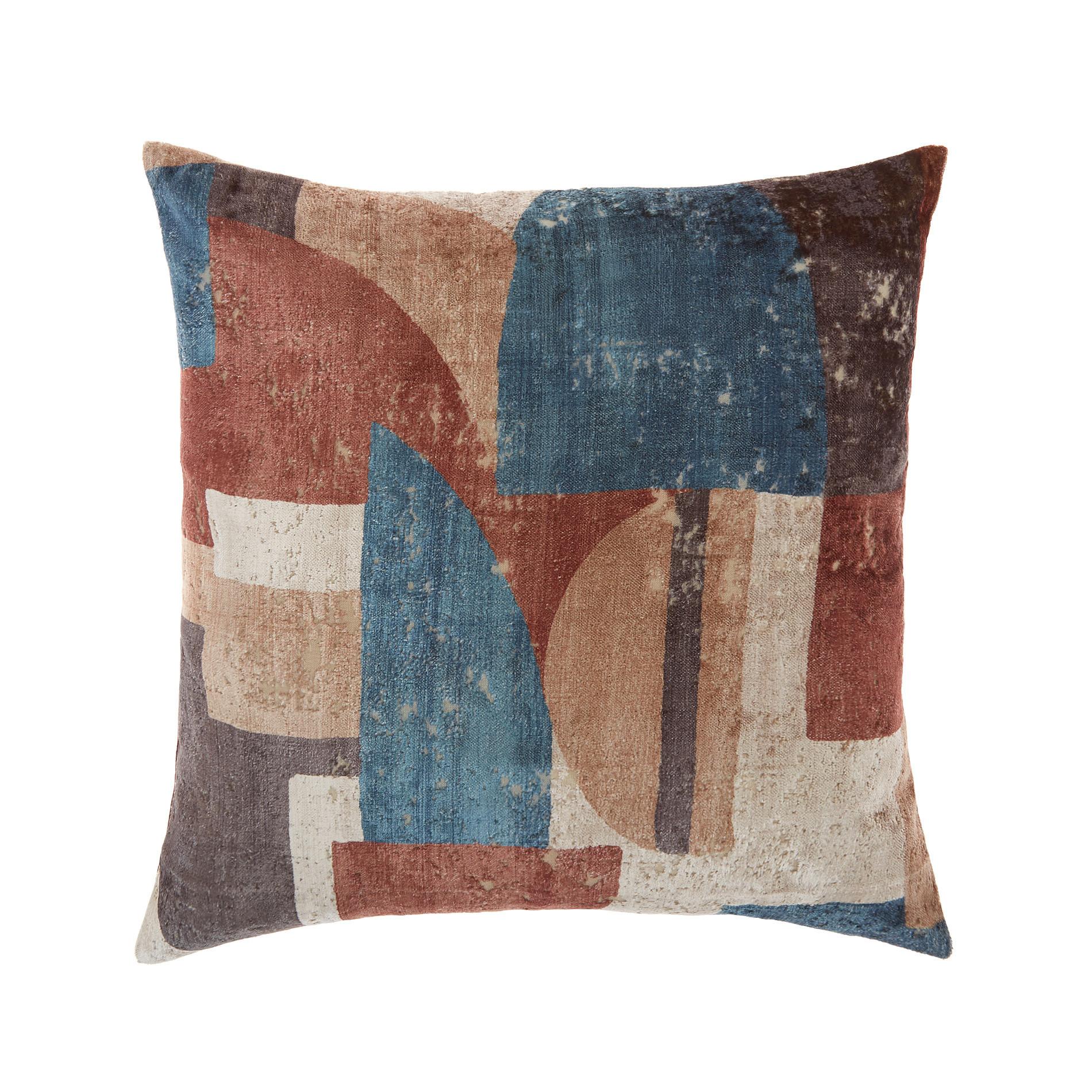 Cuscino velluto motivo geometrico 45x45cm, Marrone, large image number 0