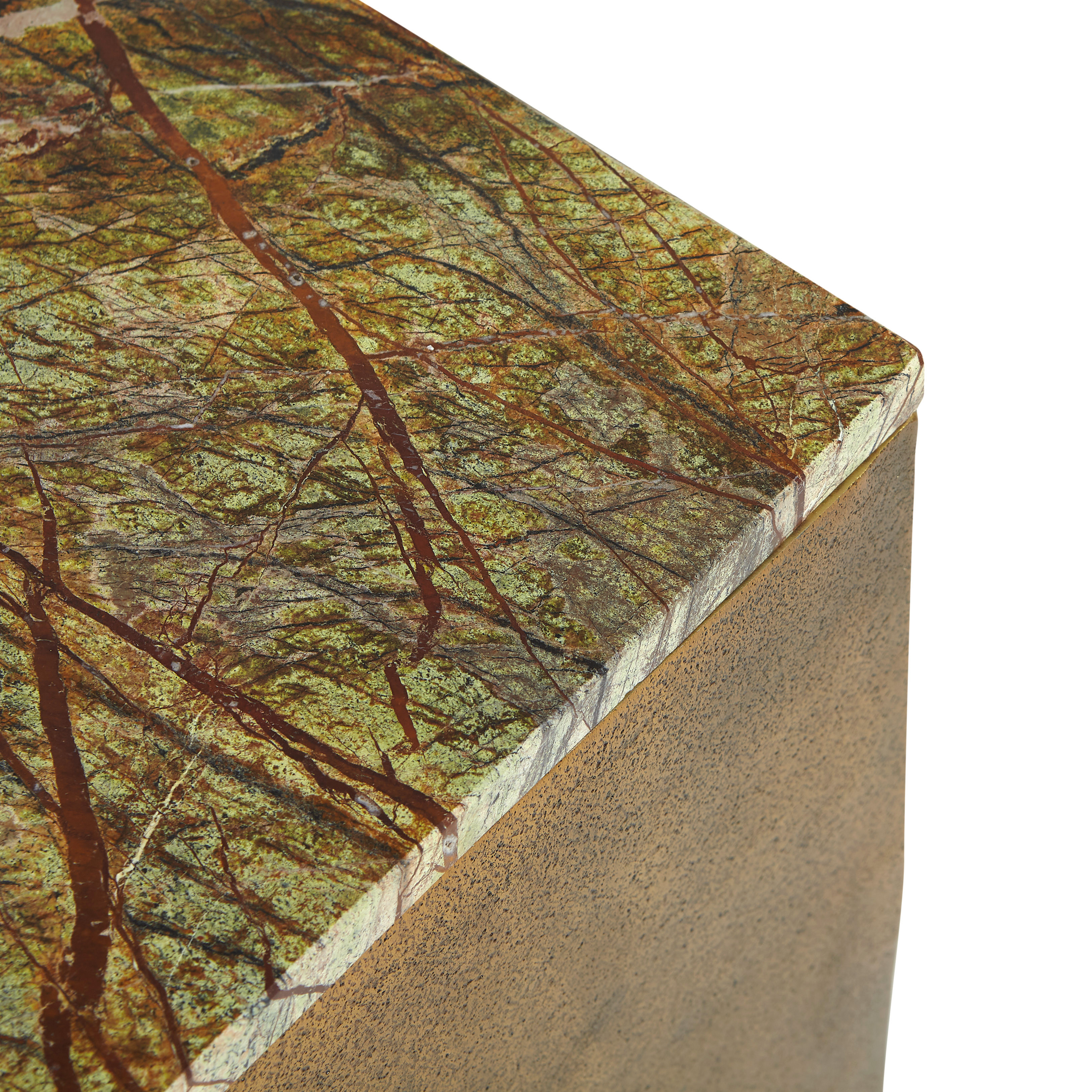 Tavolino alluminio e marmo Drum, Marrone bronzo, large image number 2