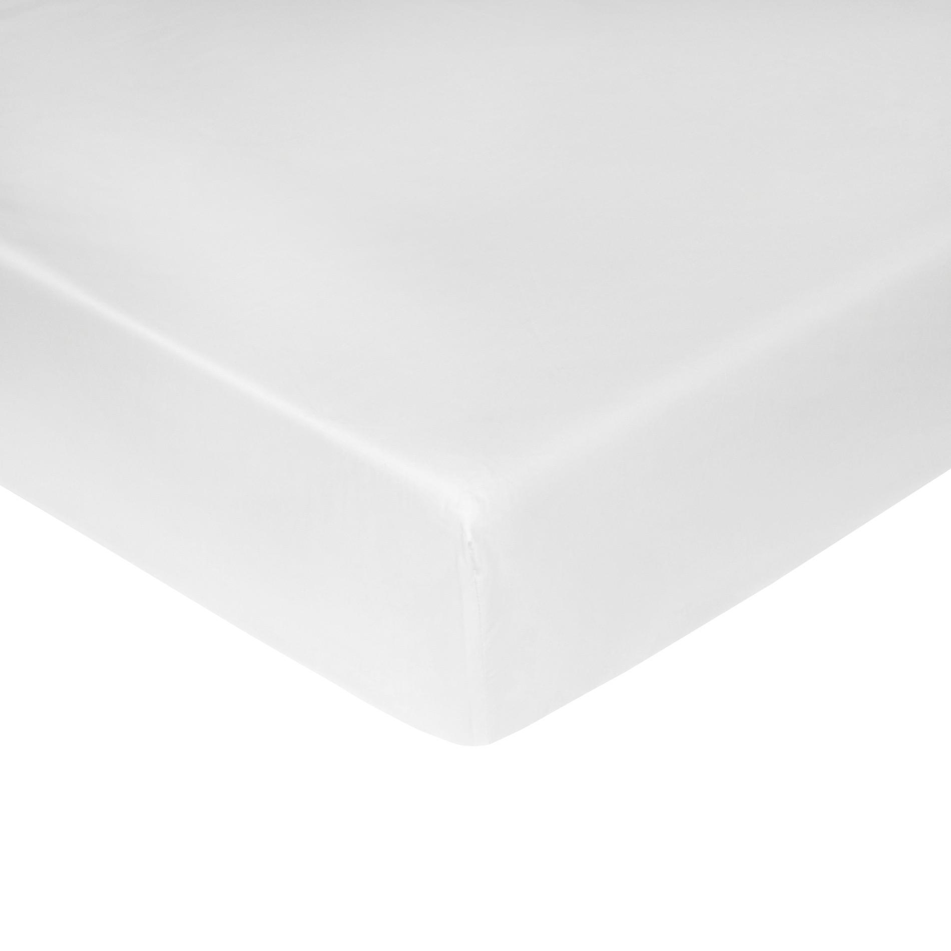 Lenzuolo con angoli raso di cotone tinta unita, Bianco, large image number 0