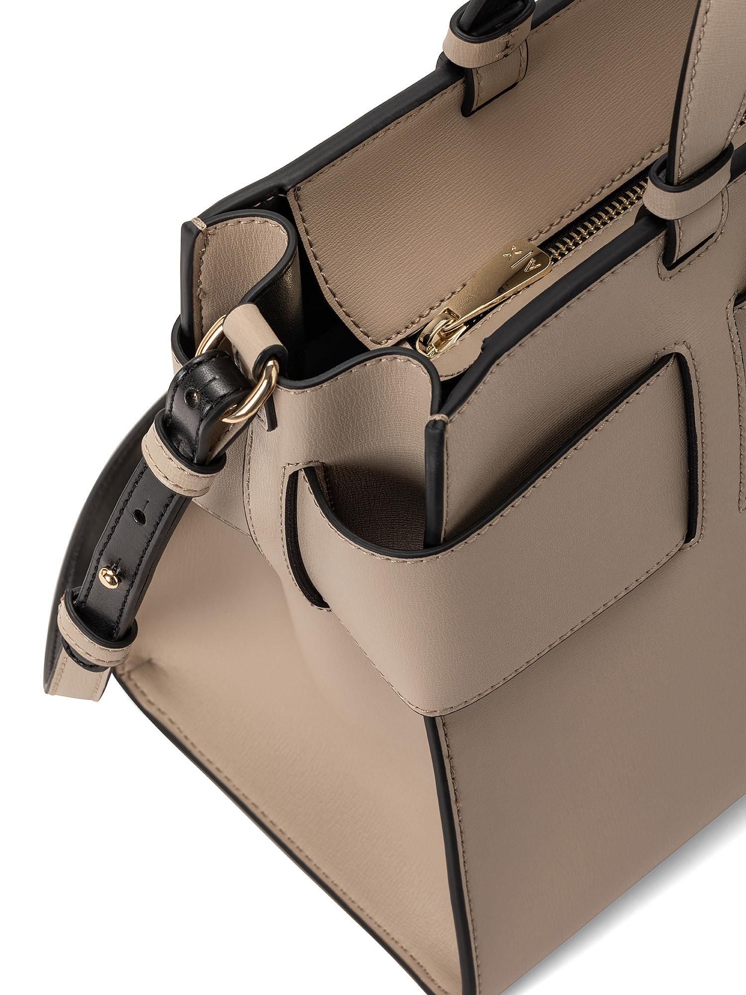 Tote bag grande con doppi manici e tracolla, Marrone, large image number 2