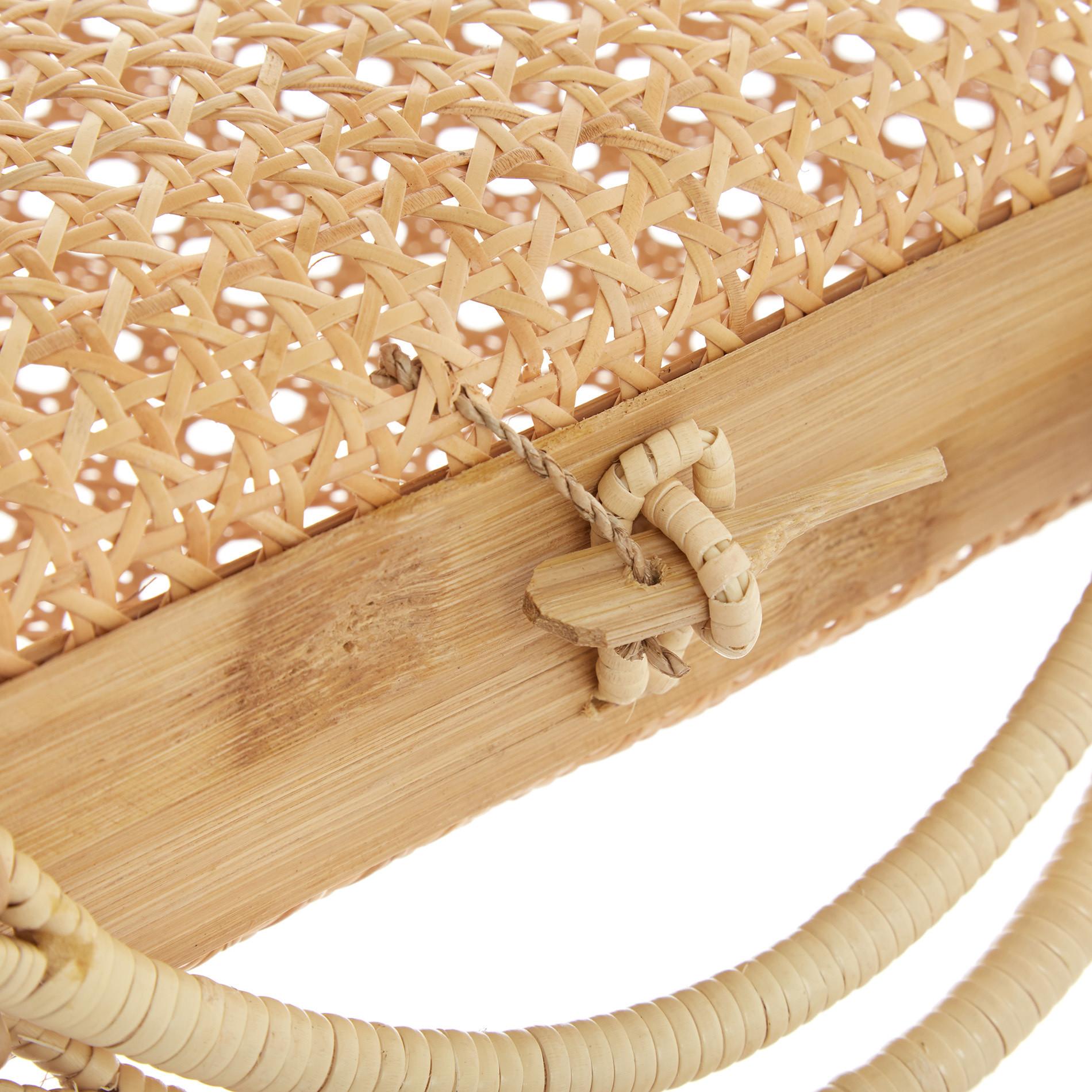 Borsa rattan e bamboo intrecciati a mano, Trasparente, large image number 2