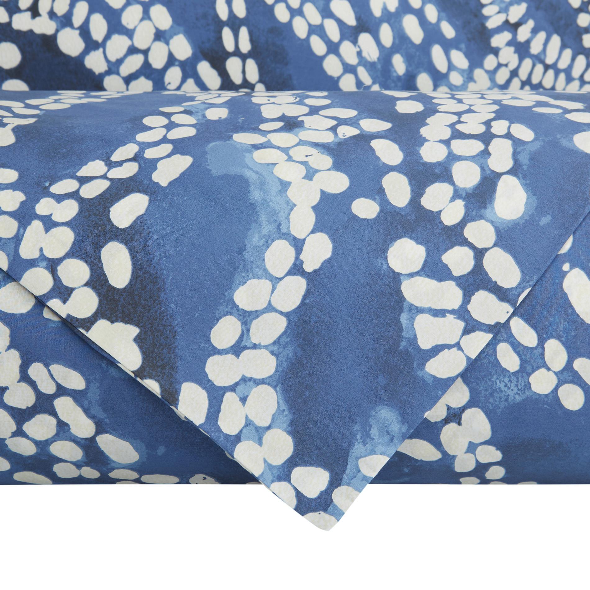 Lenzuolo liscio cotone percalle fantasia a puntini, Blu, large image number 2