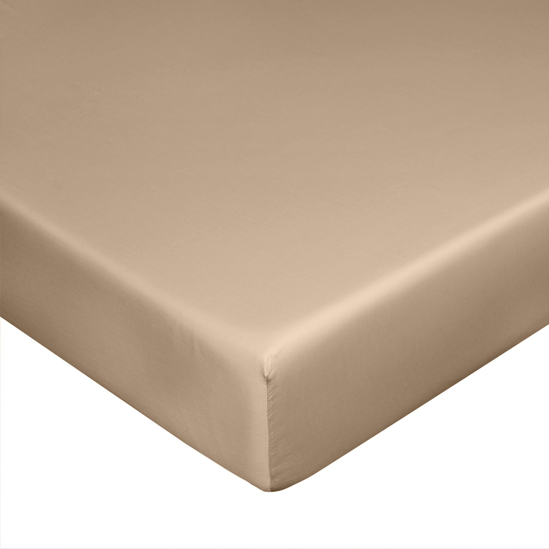 Lenzuolo con angoli raso di puro cotone Zefiro, Beige, large image number 0