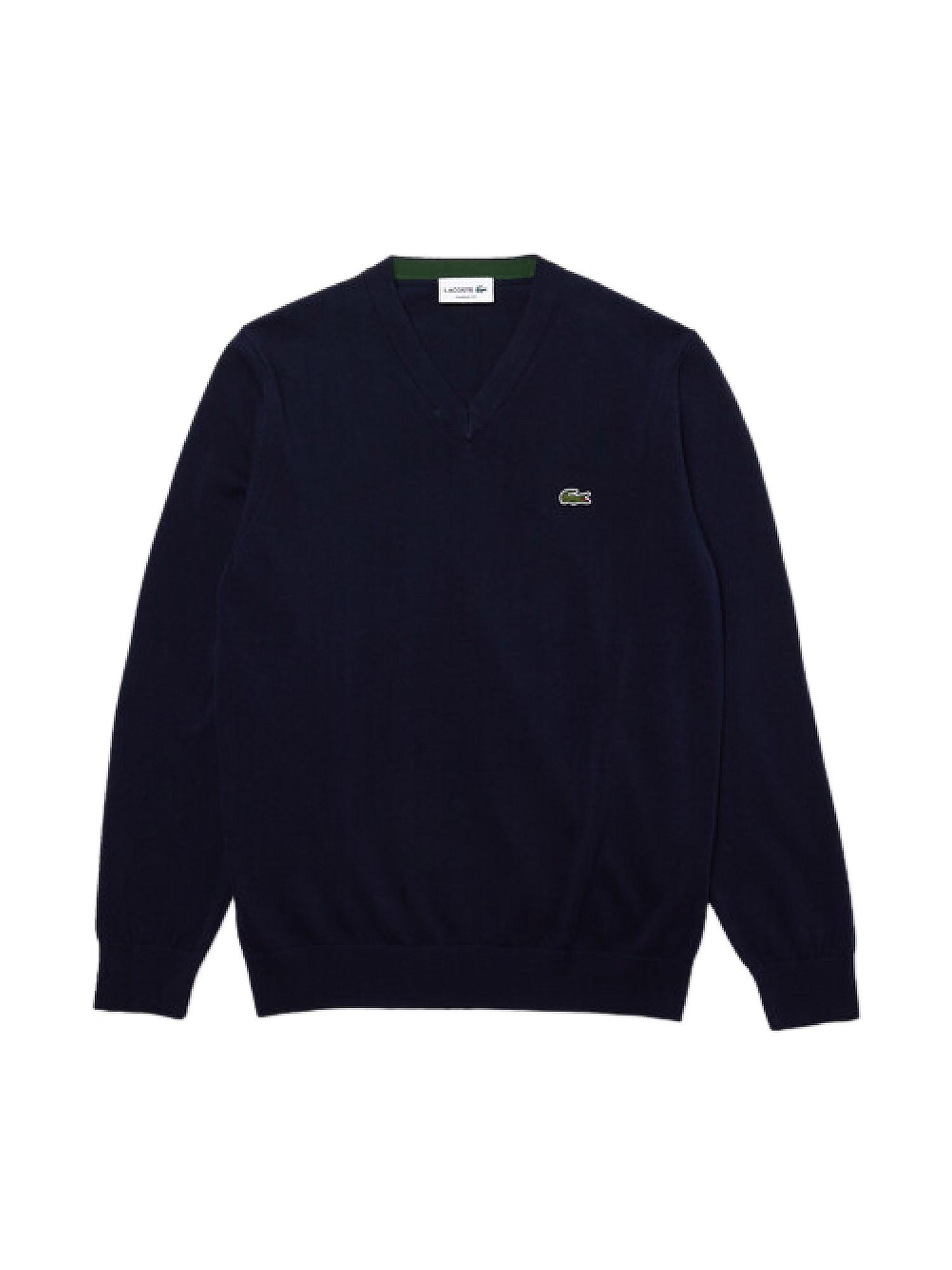 Pullover uomo scollo a V in cotone, Blu, large image number 0