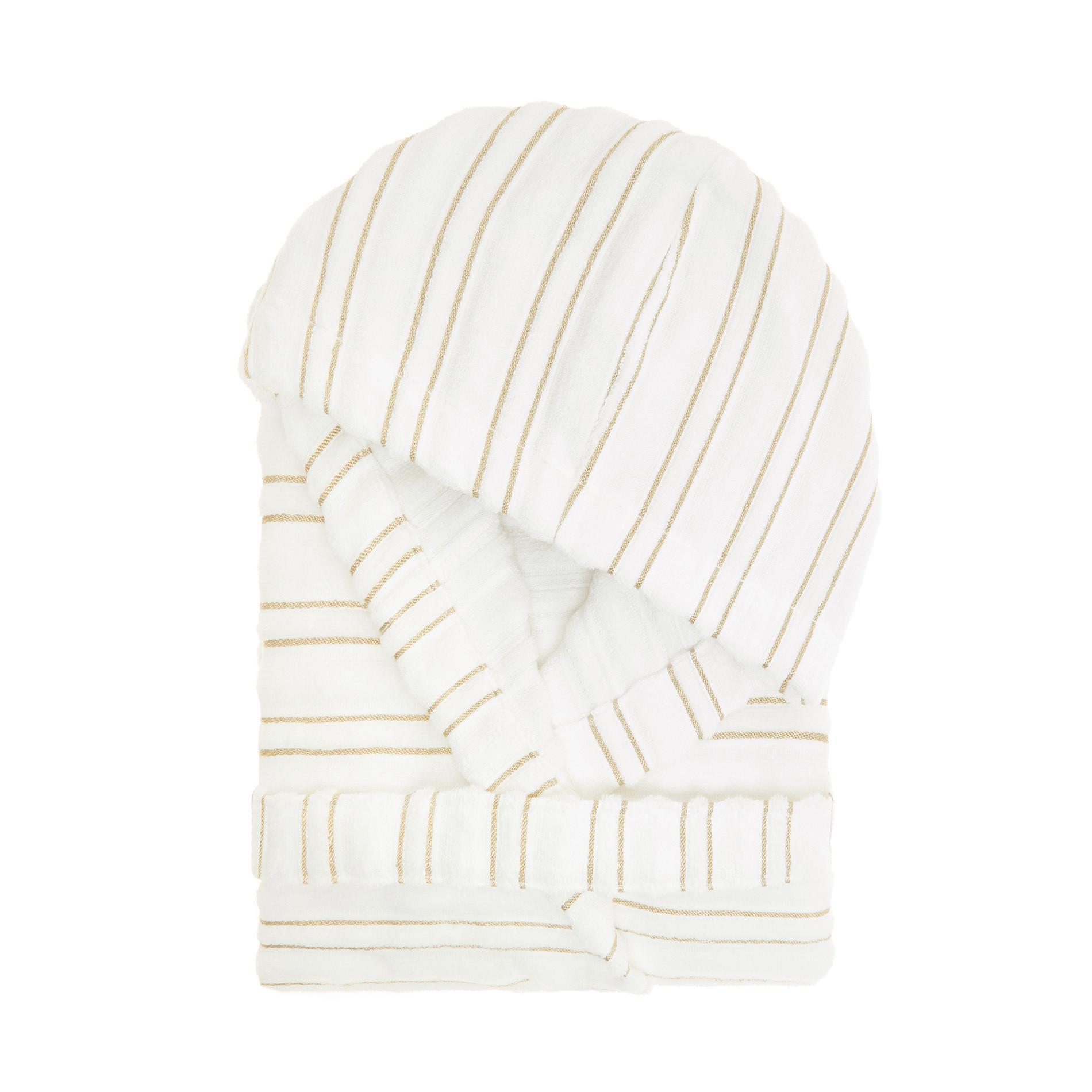 Accappatoio spugna di cotone motivo a righe Portofino, Bianco, large image number 0